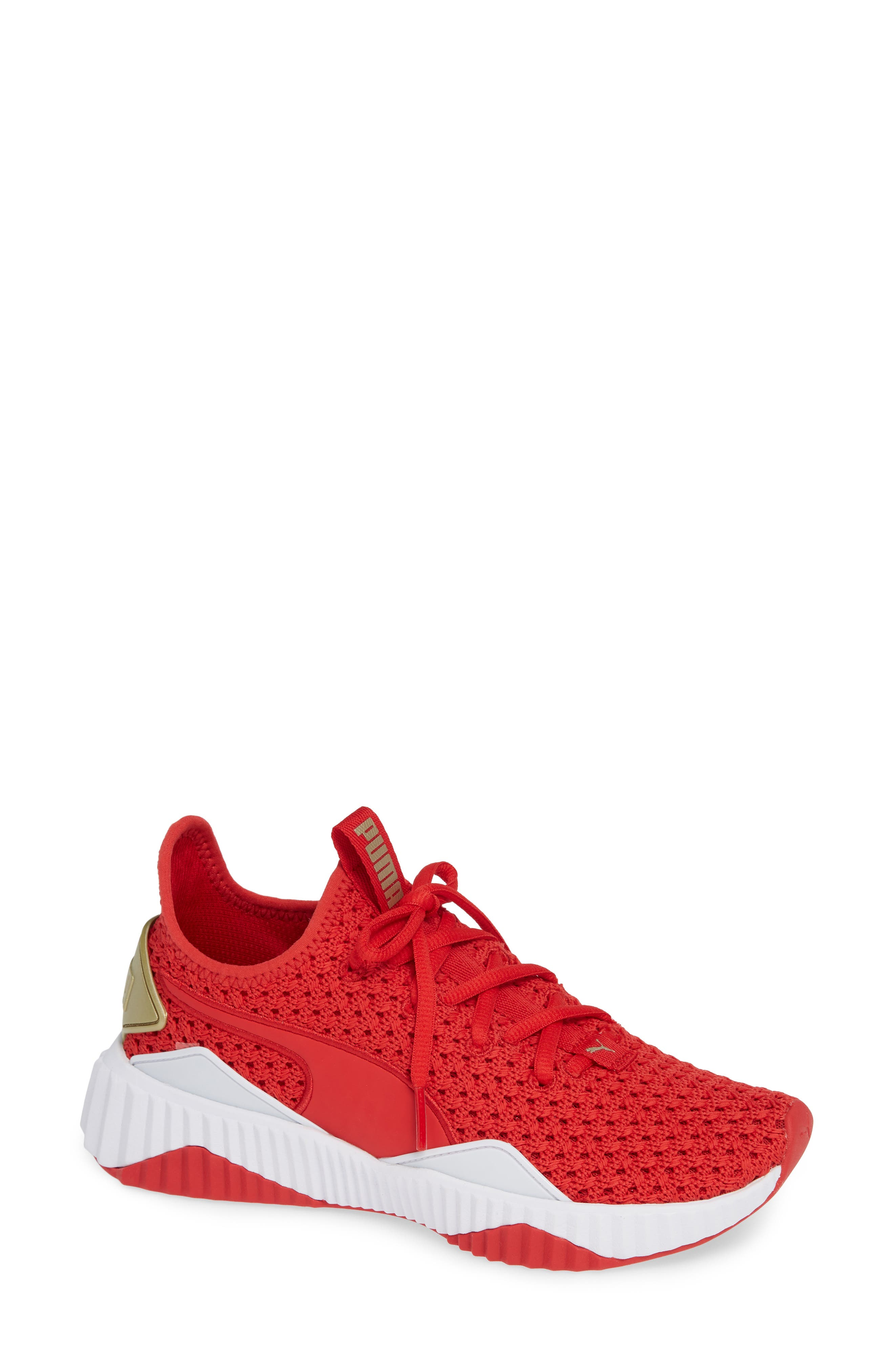 Defy Varsity Sneaker,                             Main thumbnail 1, color,                             RIBBON RED/ METALLIC GOLD