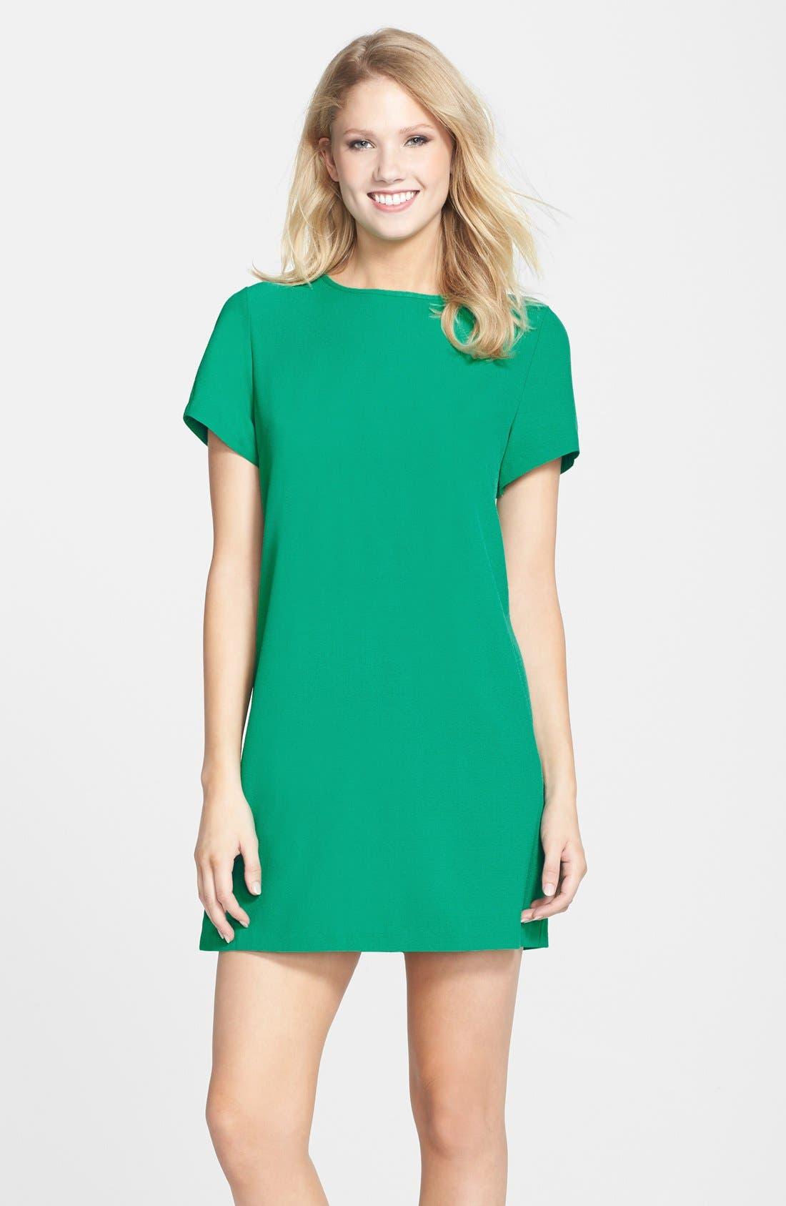 Devery Crepe Shift Dress,                         Main,                         color, EMERALD GREEN