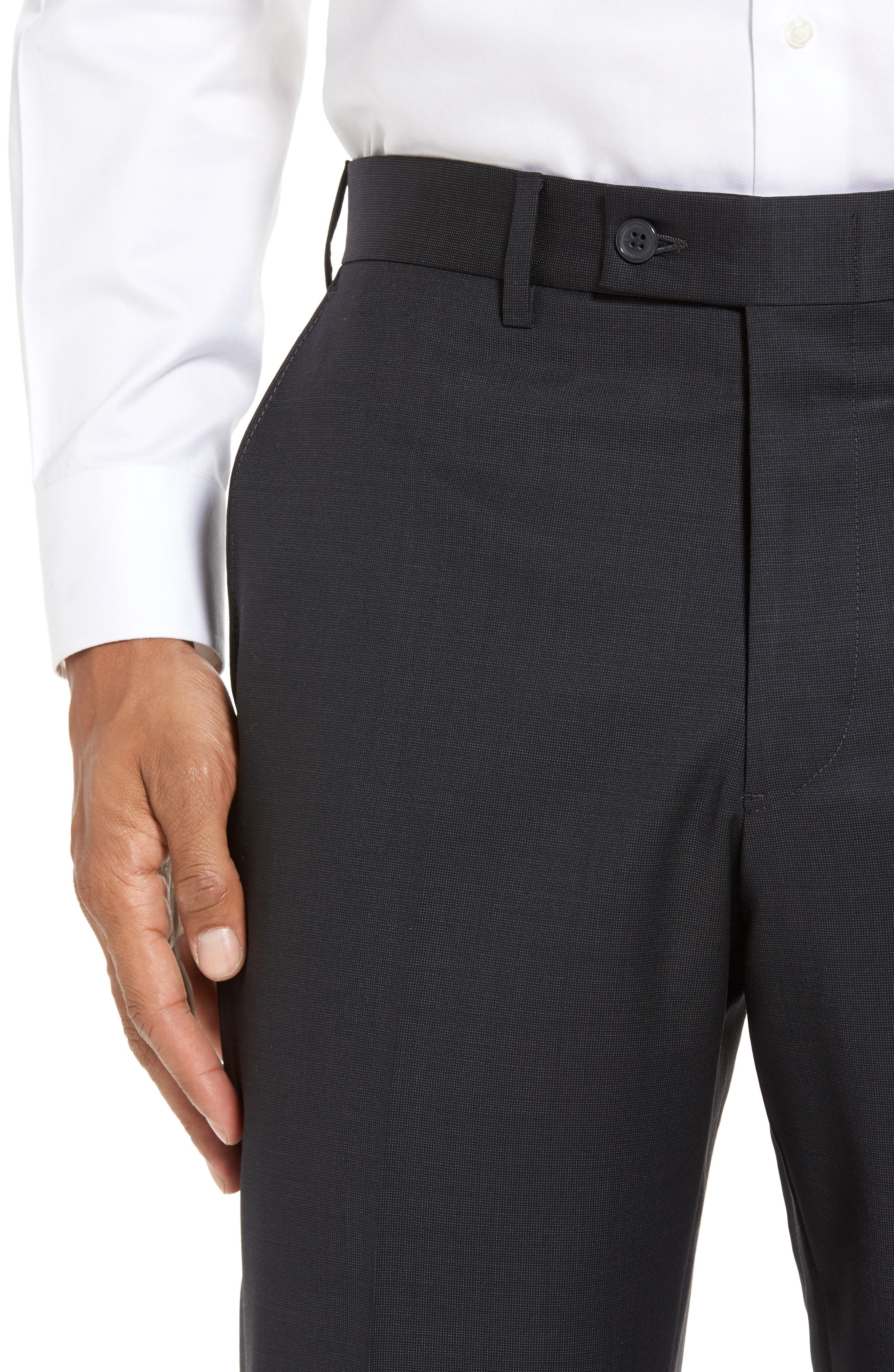 Flat Front Solid Wool Trousers,                             Alternate thumbnail 5, color,                             010