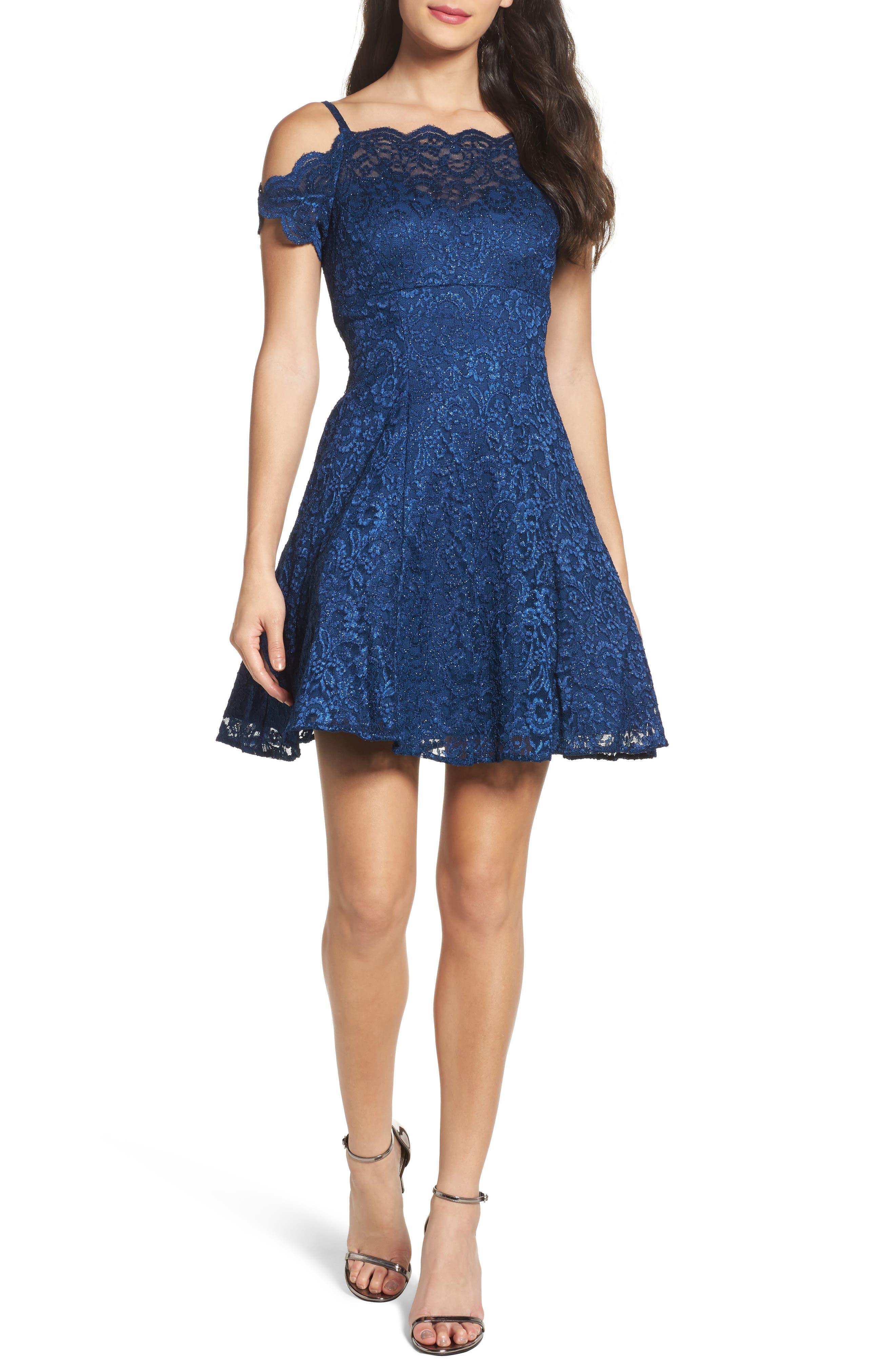 Morgan & Co. Cold Shoulder Glitter Lace Fit & Flare Dress, /10 - Blue