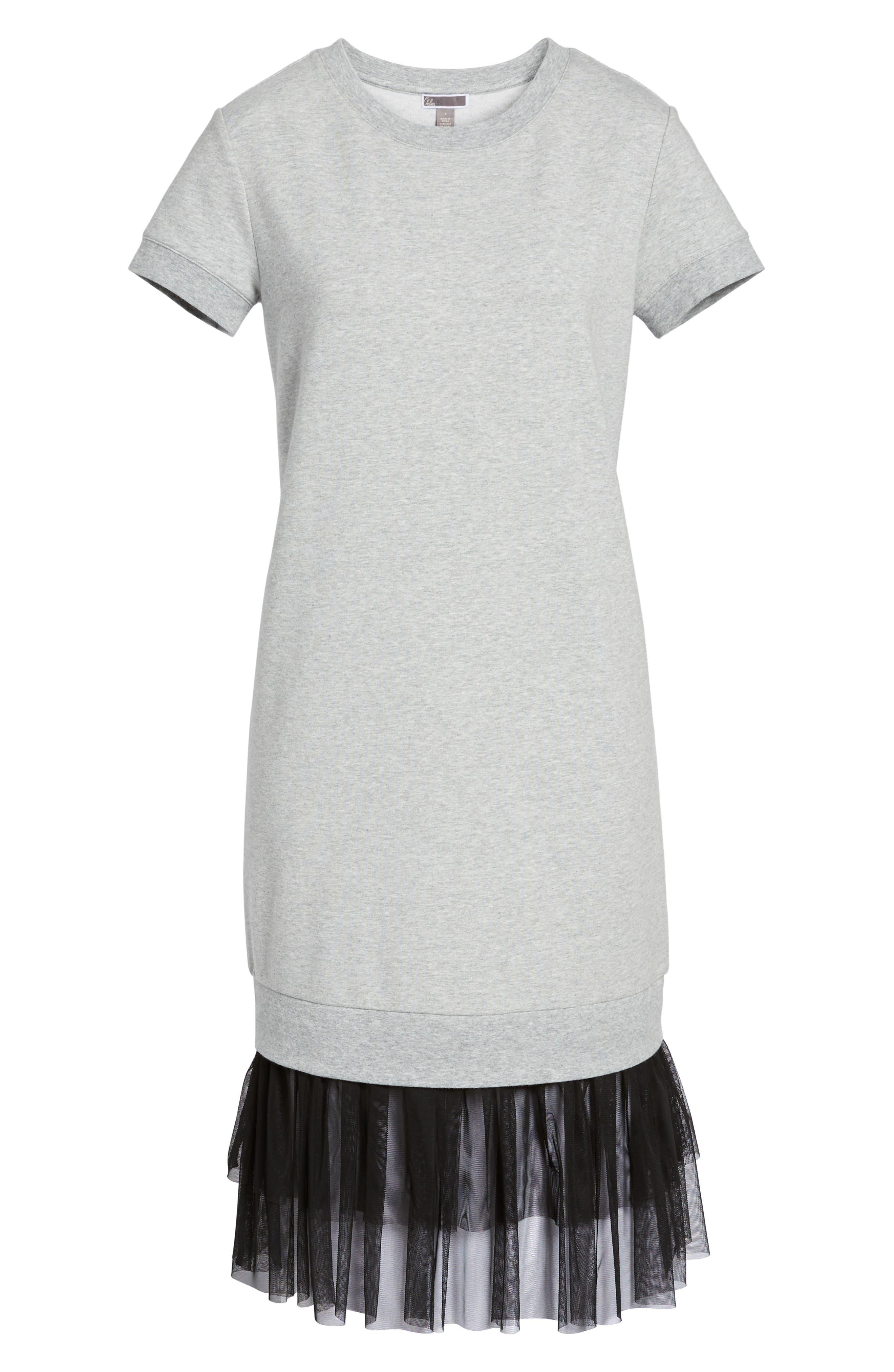 Ruffle Hem Midi Dress,                             Alternate thumbnail 6, color,                             030