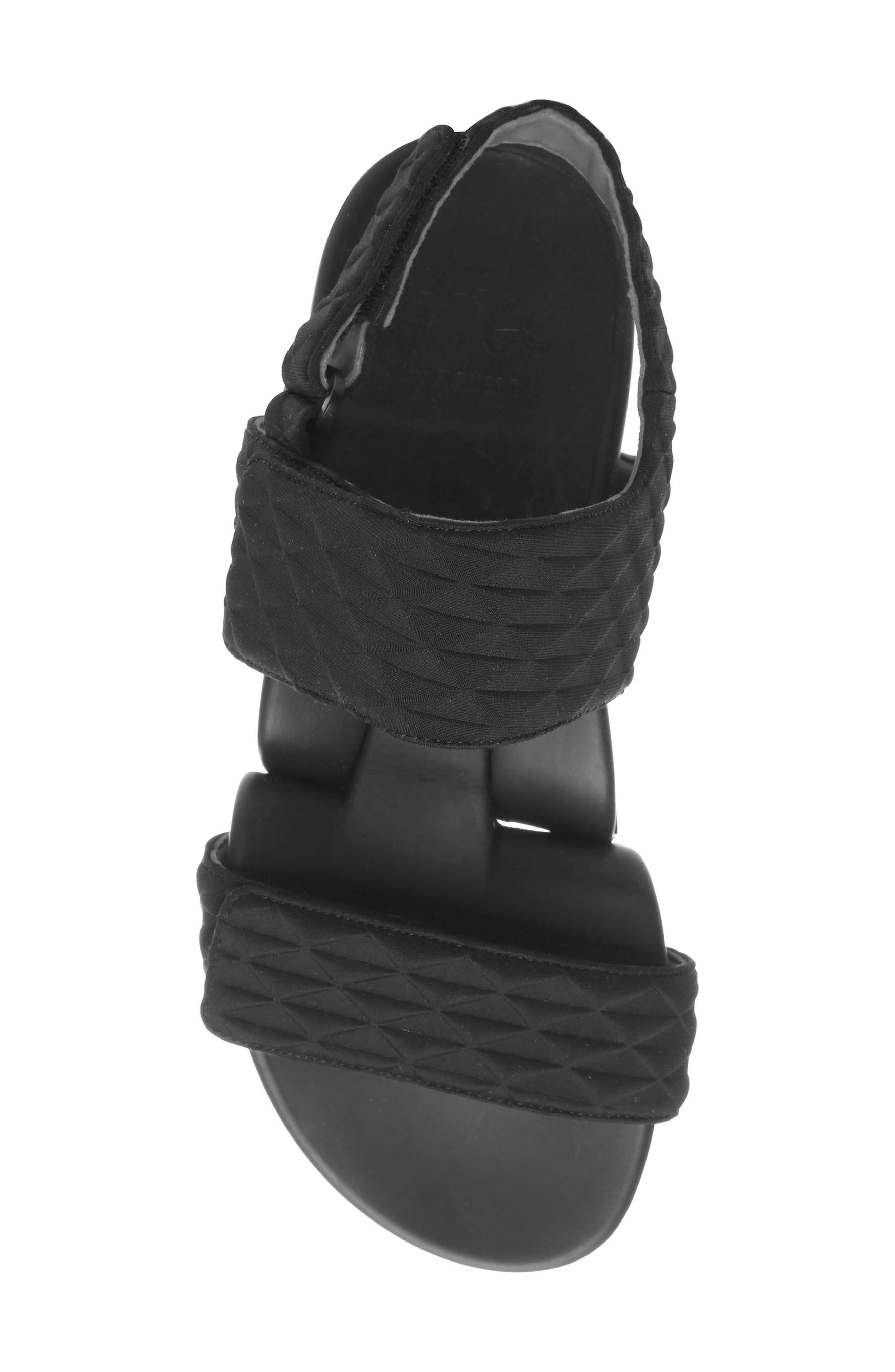 Figulous Diamond Embossed Sandal,                             Alternate thumbnail 5, color,                             BLACK DIAMOND FABRIC