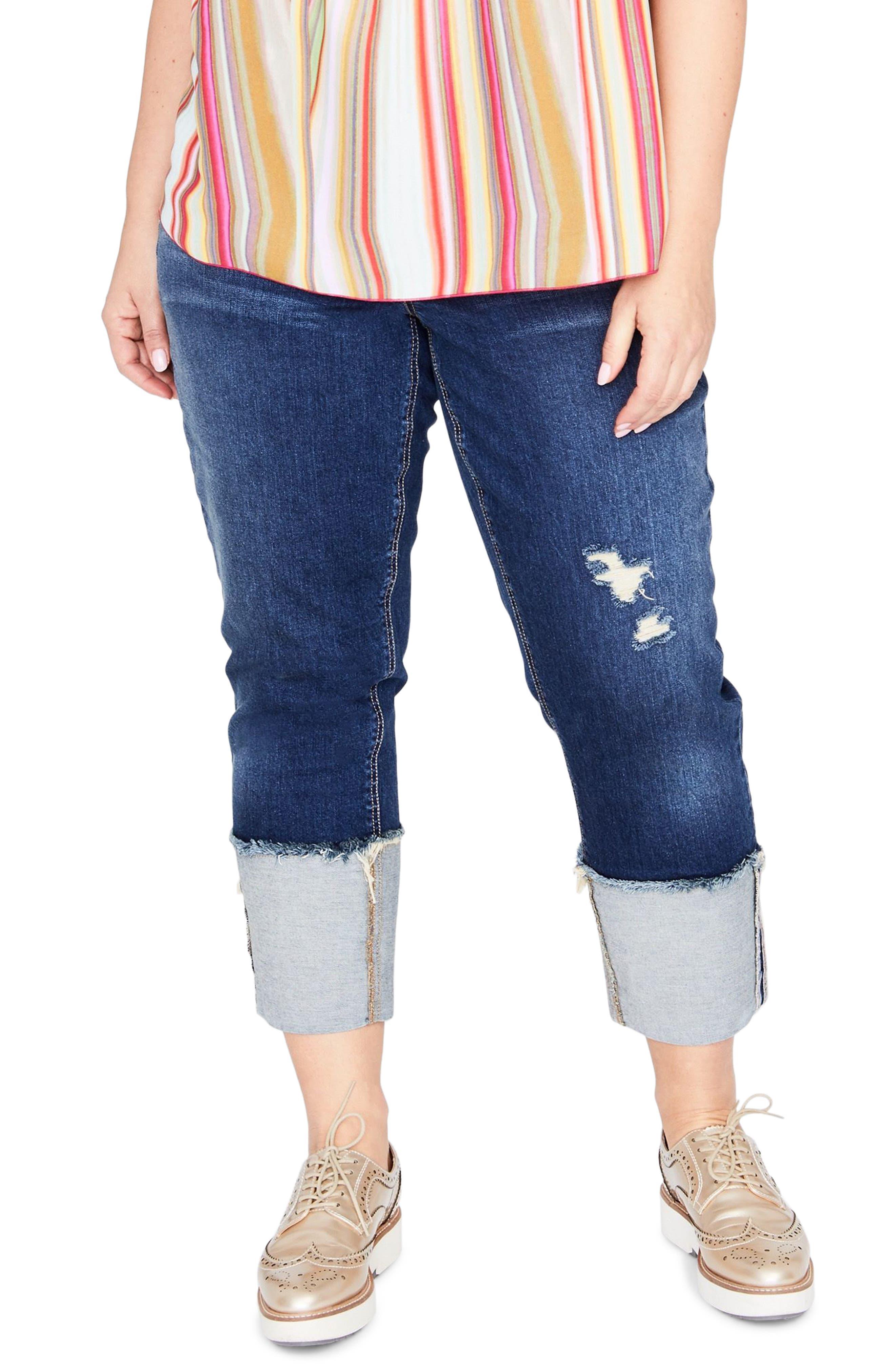 High Waist Wide Cuff Crop Jeans,                             Main thumbnail 1, color,                             427