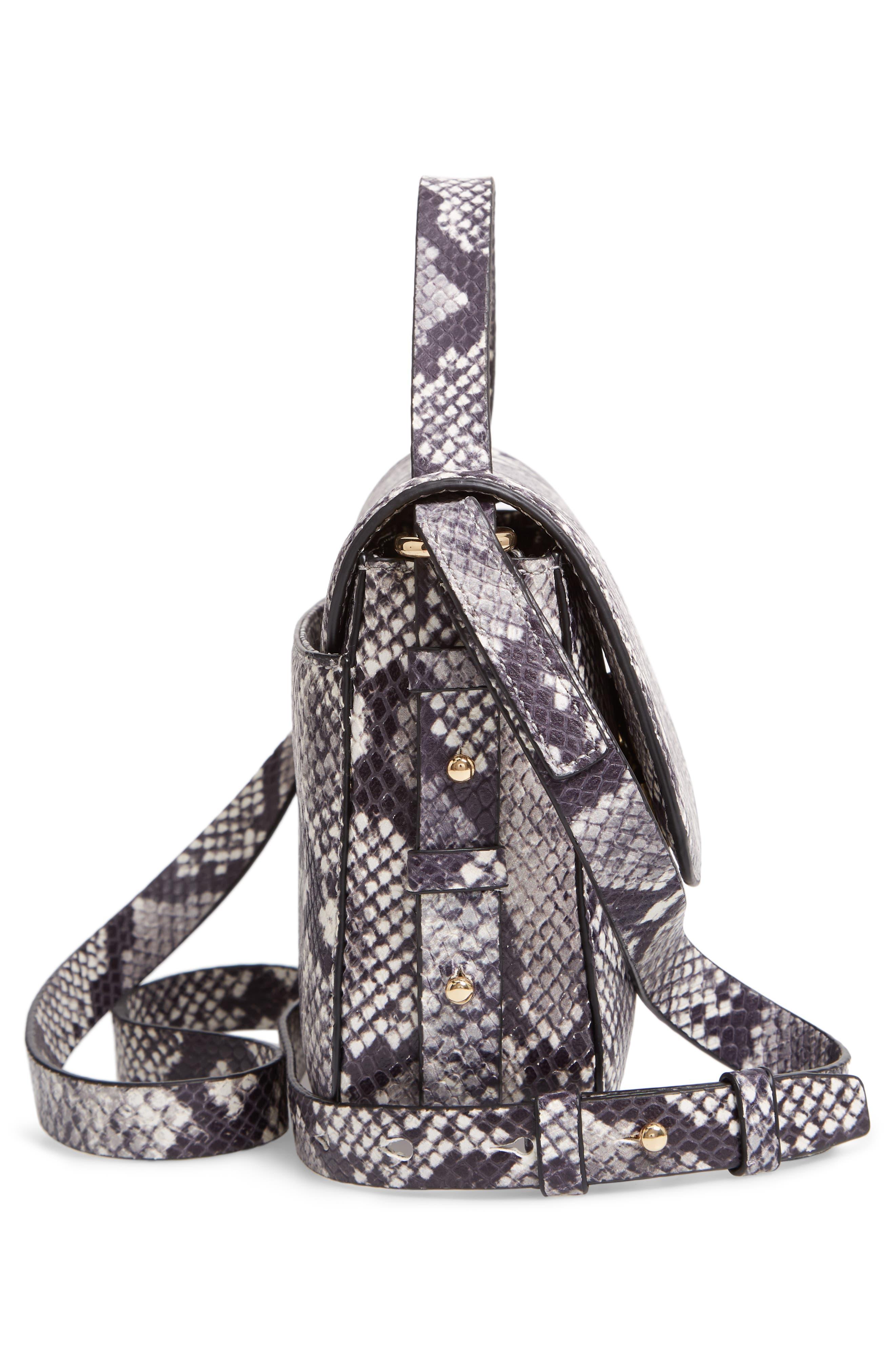 J.CREW,                             Harper Snake Embossed Leather Crossbody Bag,                             Alternate thumbnail 6, color,                             020