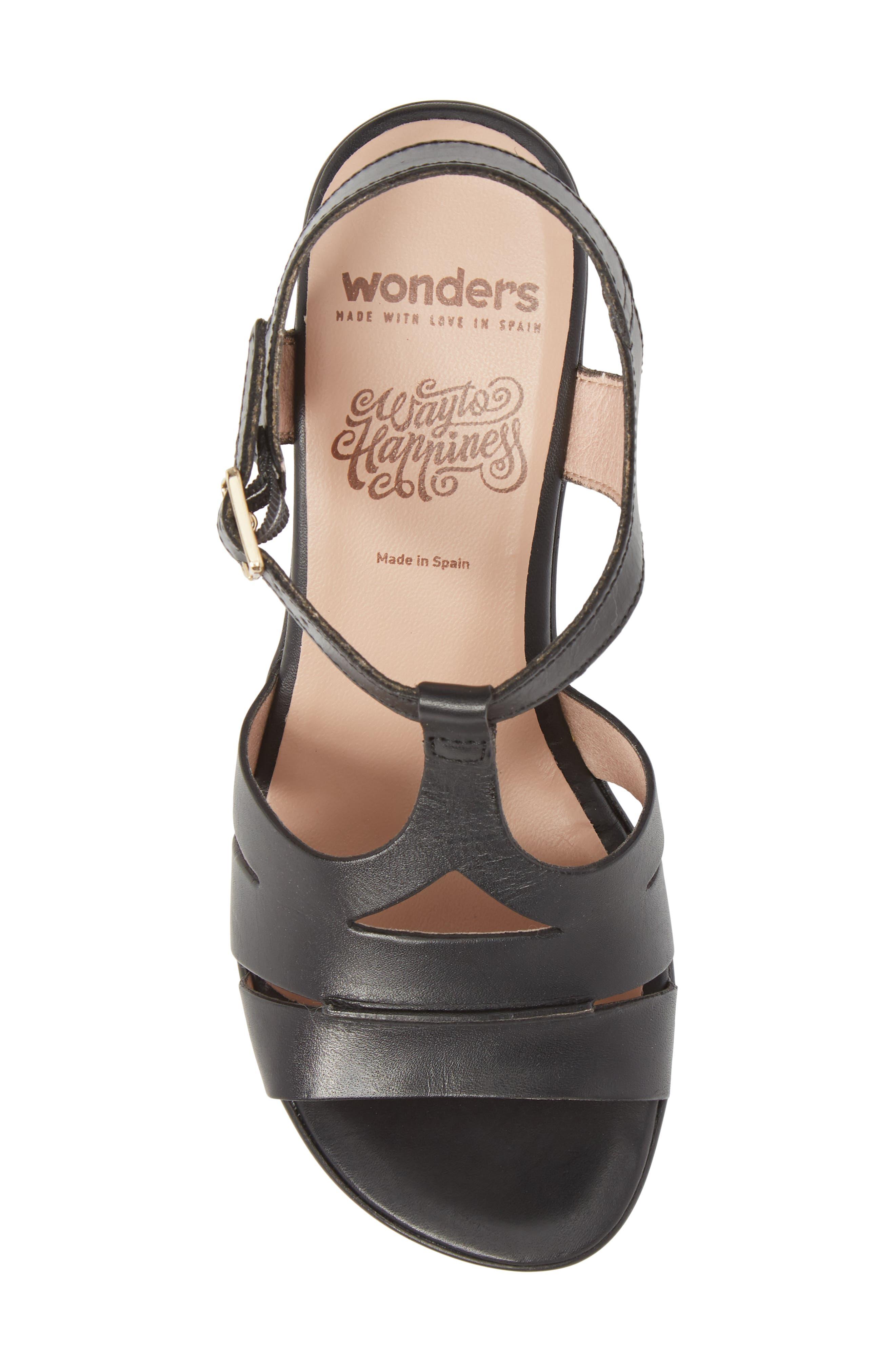Block Heel Platform Sandal,                             Alternate thumbnail 5, color,                             BLACK LEATHER