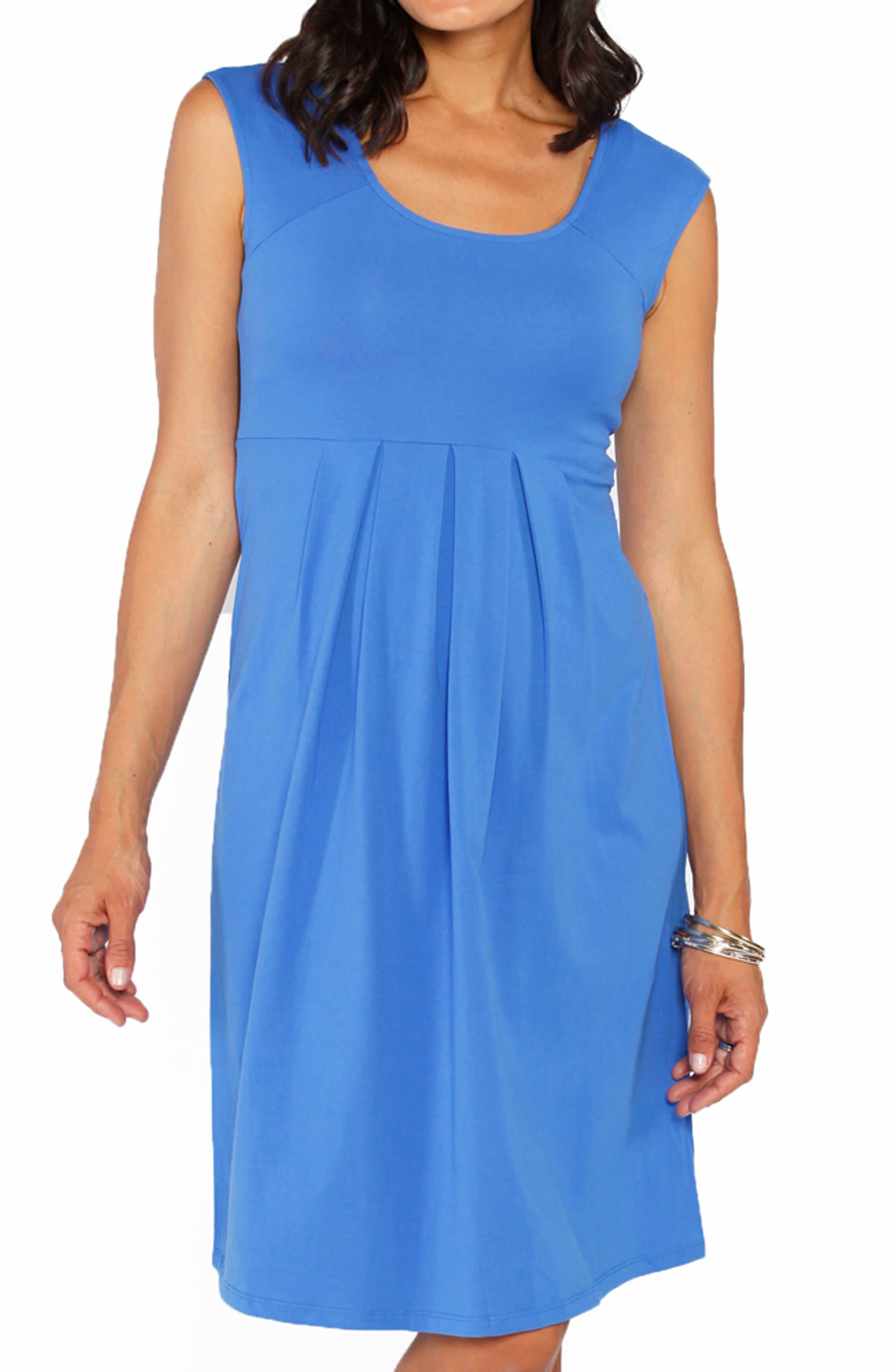 Stretch Cotton Maternity Dress,                             Alternate thumbnail 4, color,                             BLUE