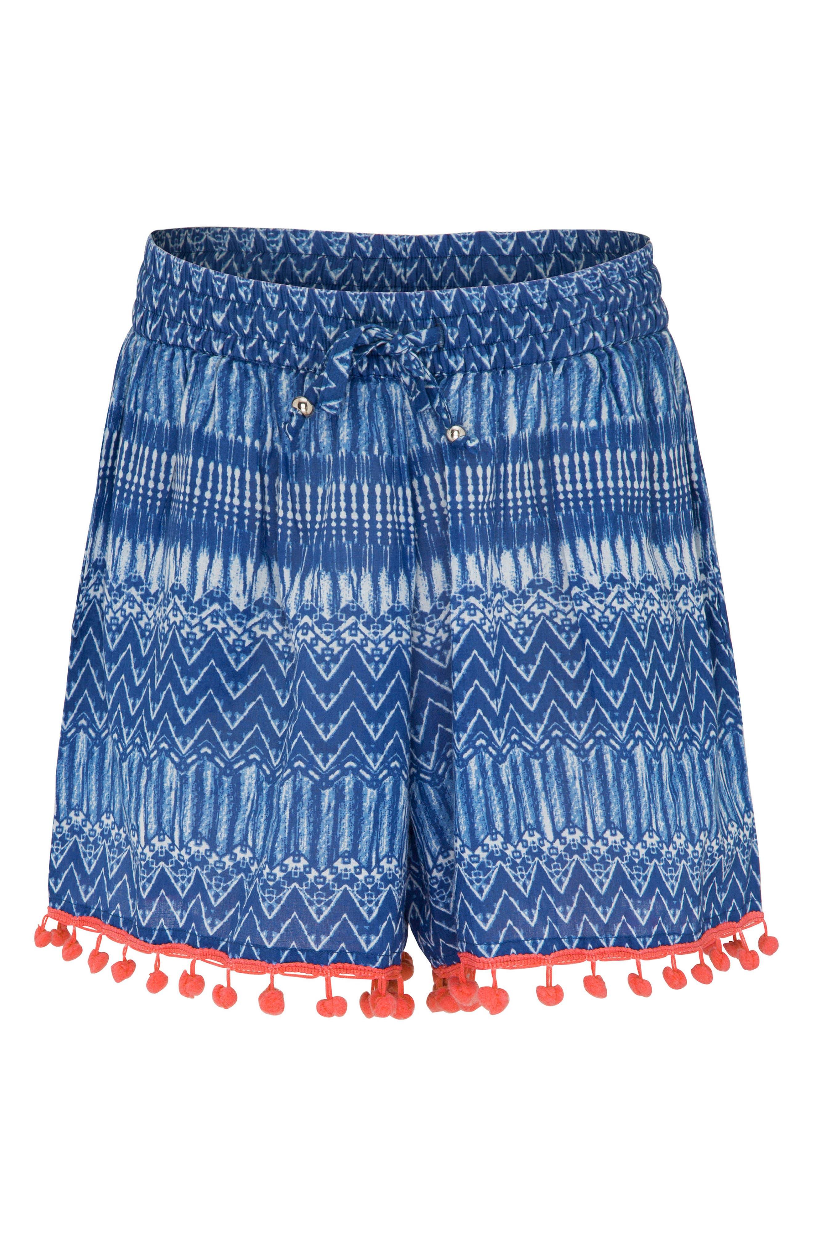 Print Cover-Up Shorts,                             Main thumbnail 1, color,                             INDIGO WAVES