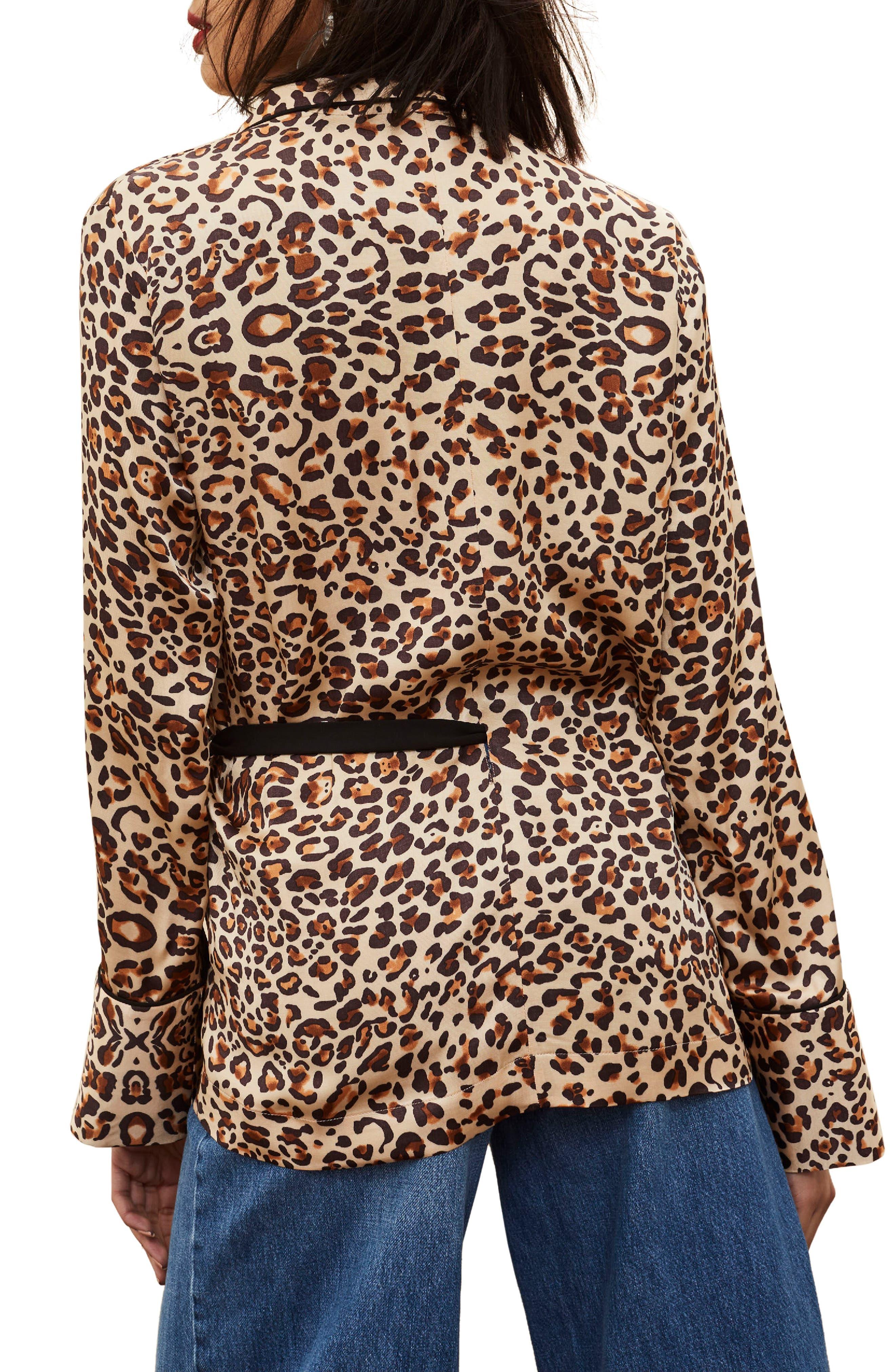 Animal Print Wrap Pajama Tie Front Shirt,                             Alternate thumbnail 2, color,                             201