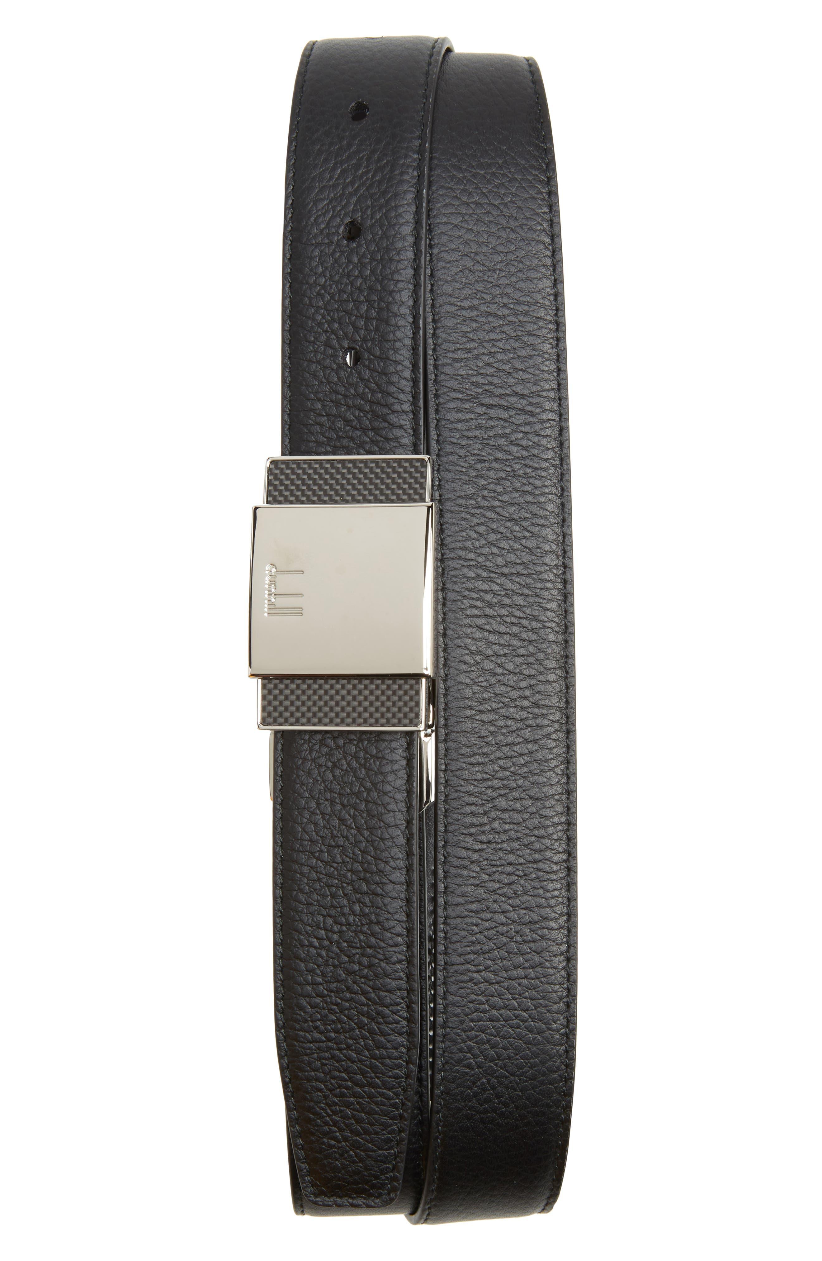 Plate Buckle Reversible Leather Belt,                         Main,                         color, BLACK