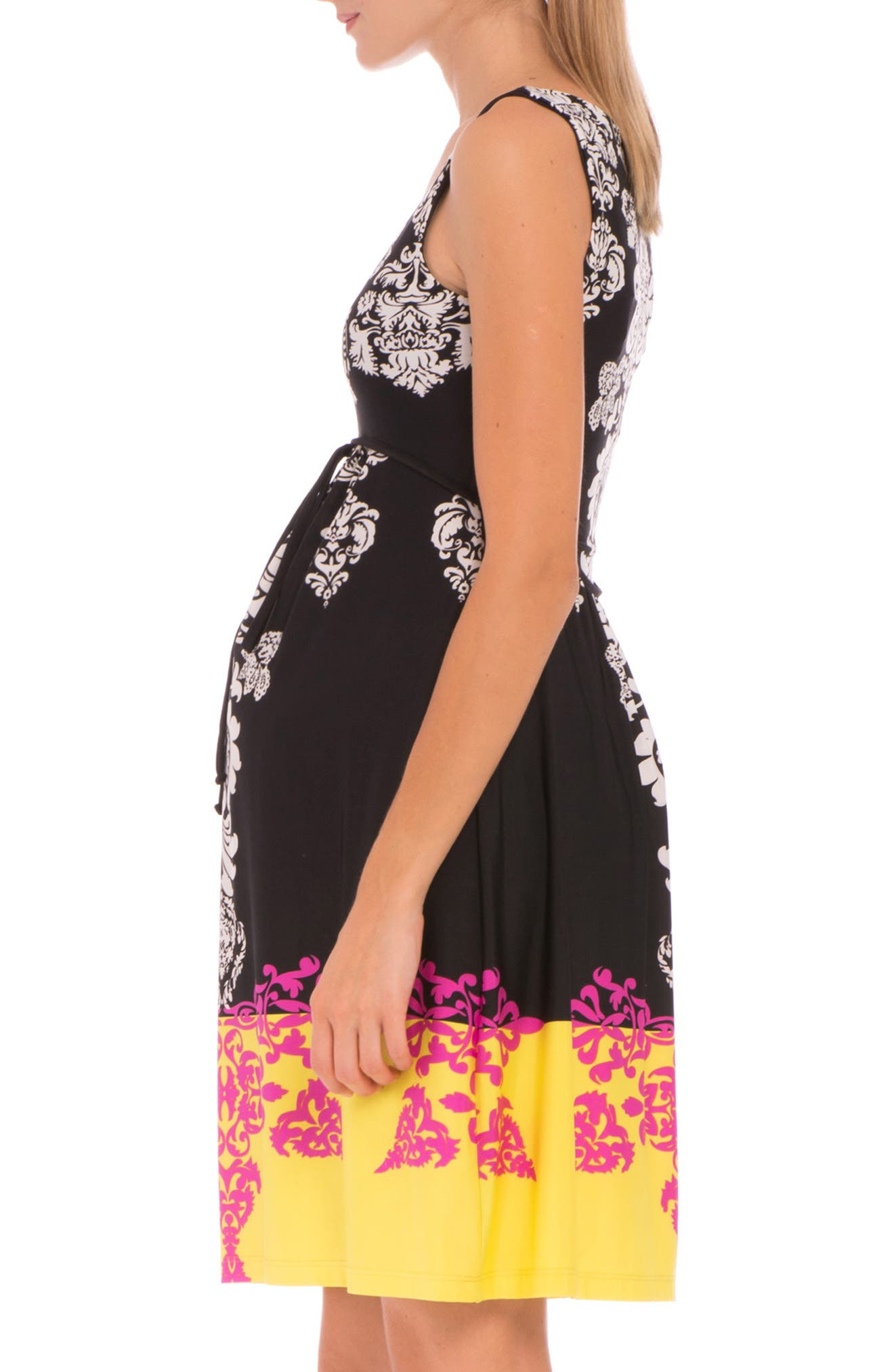 'Eloise' Graphic Maternity Dress,                             Alternate thumbnail 2, color,                             BLACK/ YELLOW PRINT
