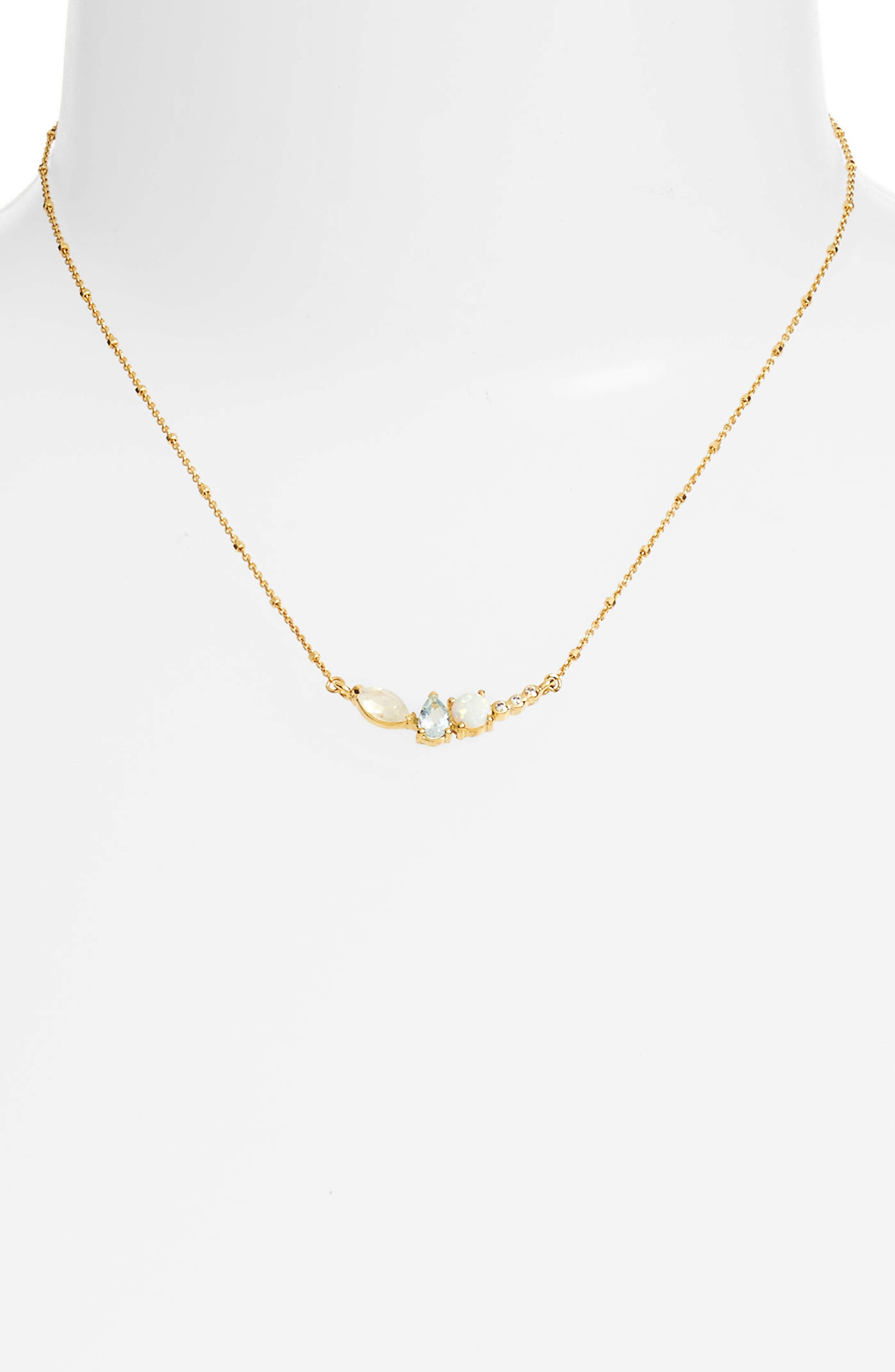 Sydney Multi Stone Bar Necklace,                             Alternate thumbnail 2, color,                             710