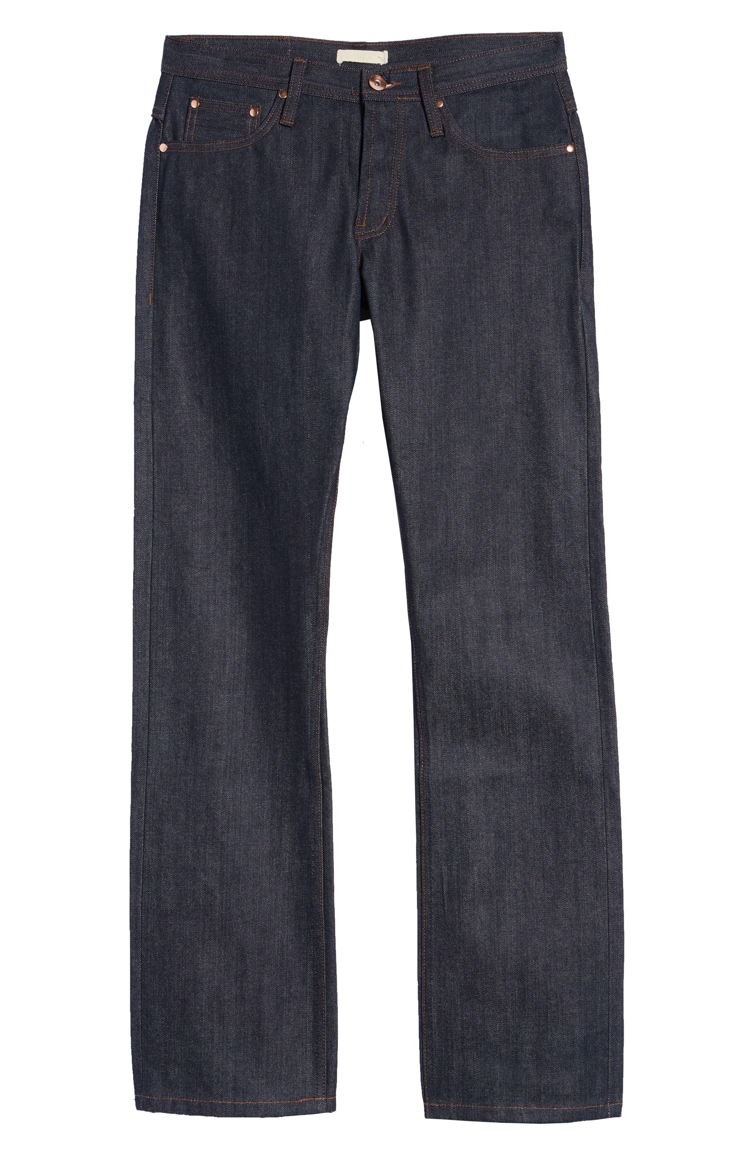 UB301 Straight Leg Raw Selvedge Jeans,                             Alternate thumbnail 7, color,                             INDIGO