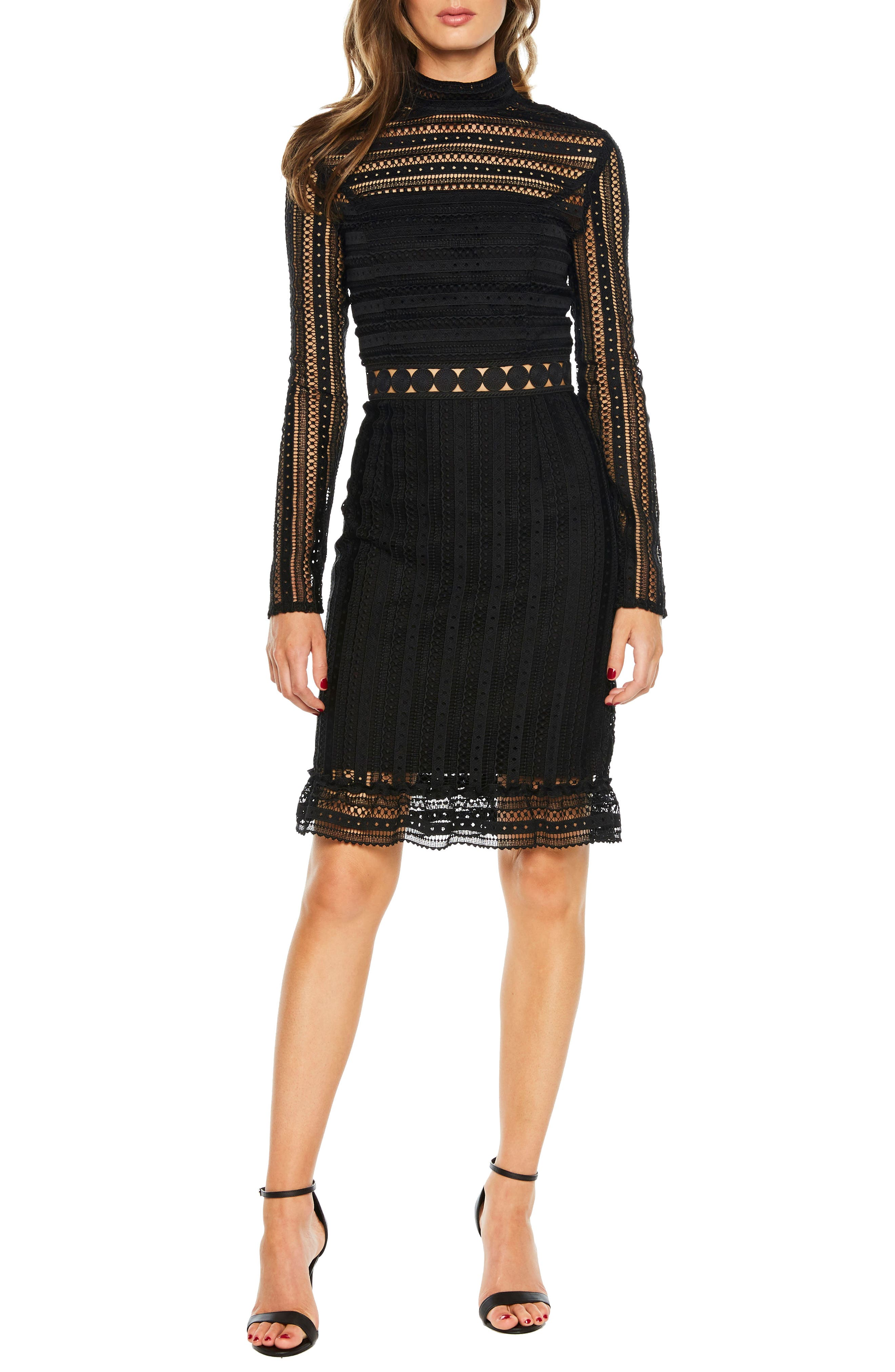 Bardot Vivian Splice Dress, Black