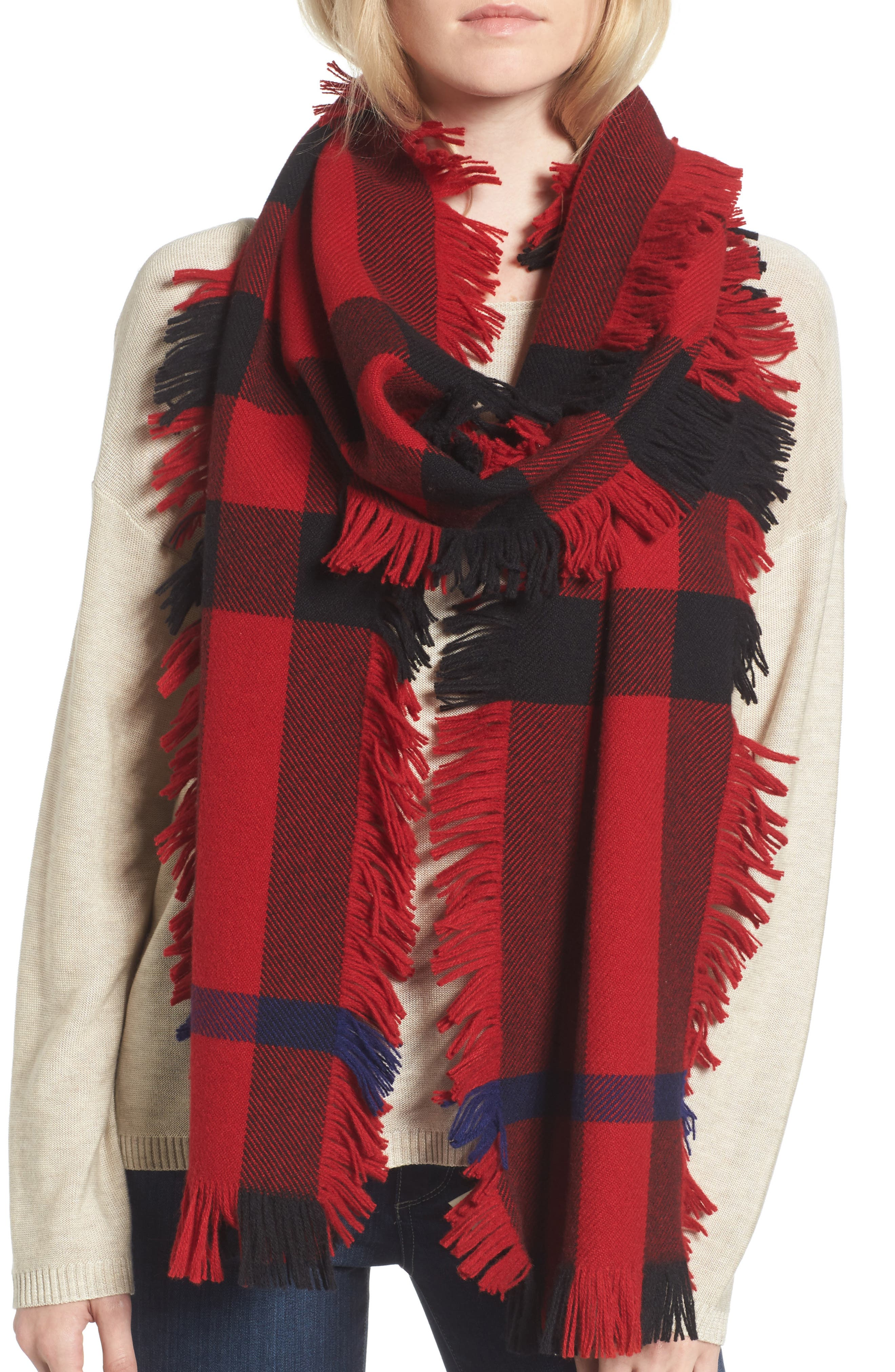 Mega Fashion Fringe Wool Scarf,                             Alternate thumbnail 5, color,                             608