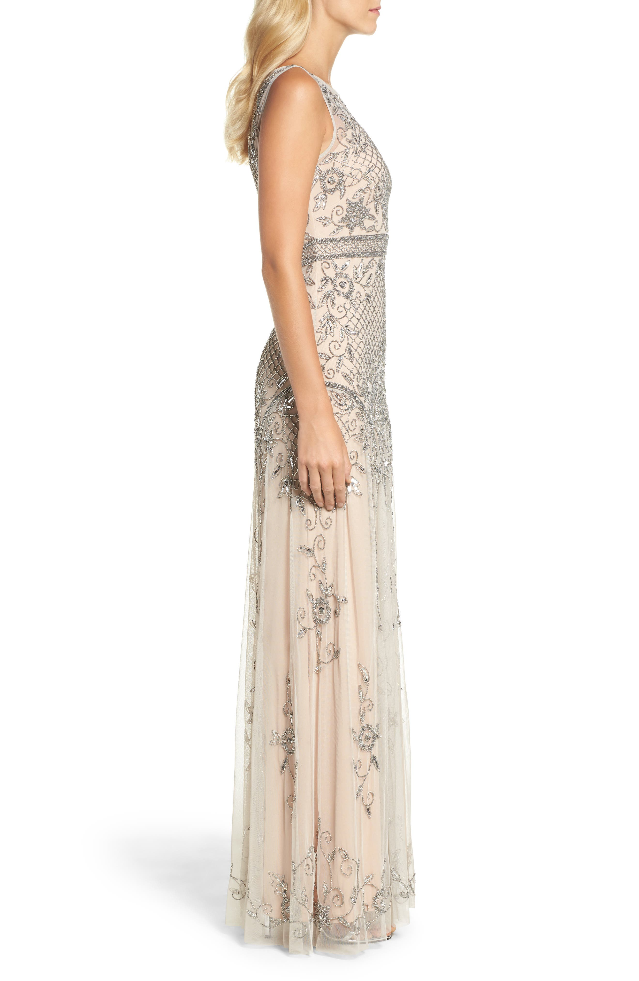 Beaded Illusion Column Gown,                             Alternate thumbnail 3, color,                             259