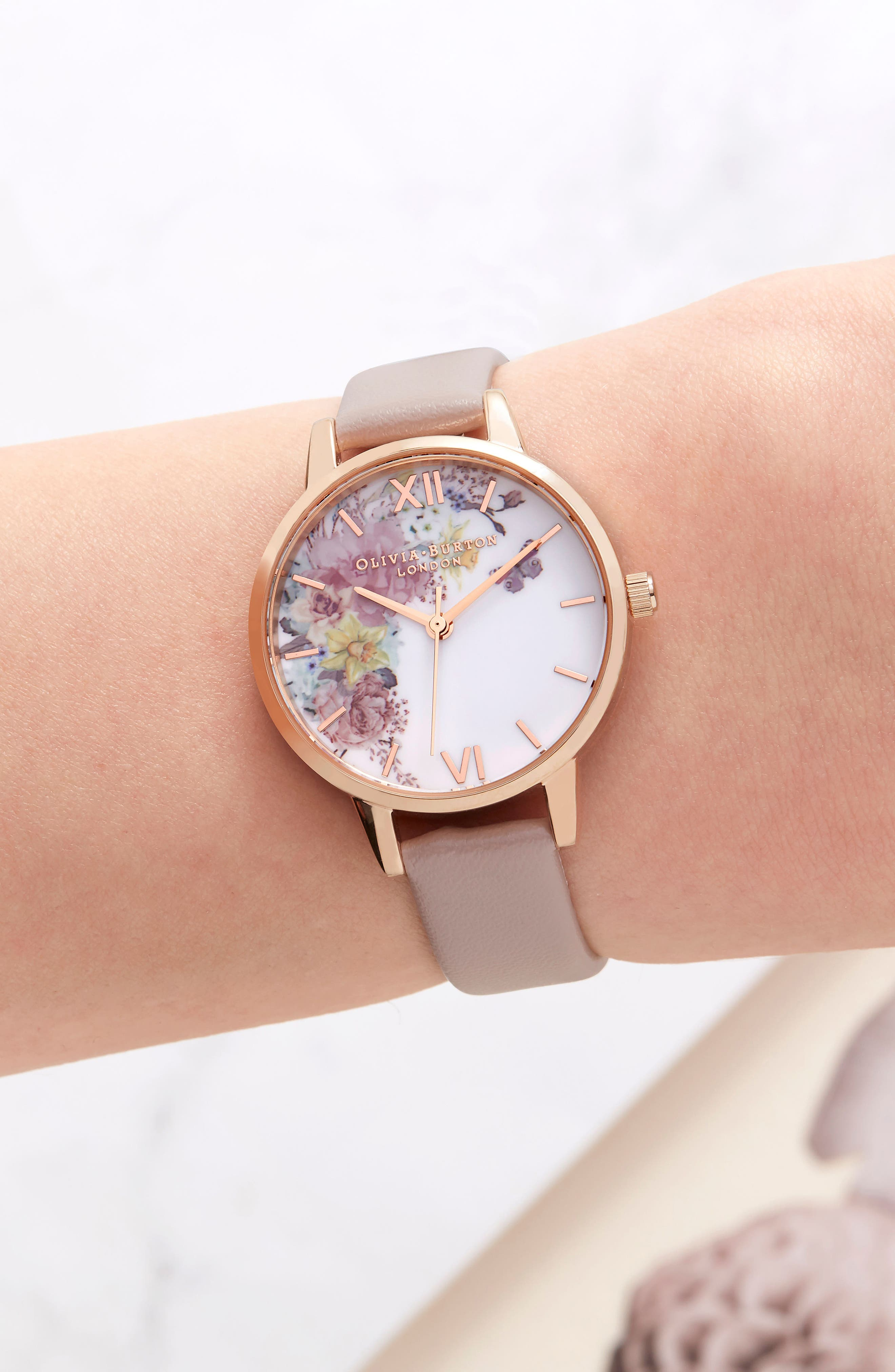 Enchanted Garden Faux Leather Strap Watch, 30mm,                             Alternate thumbnail 7, color,                             SAND/ FLORAL/ ROSE GOLD