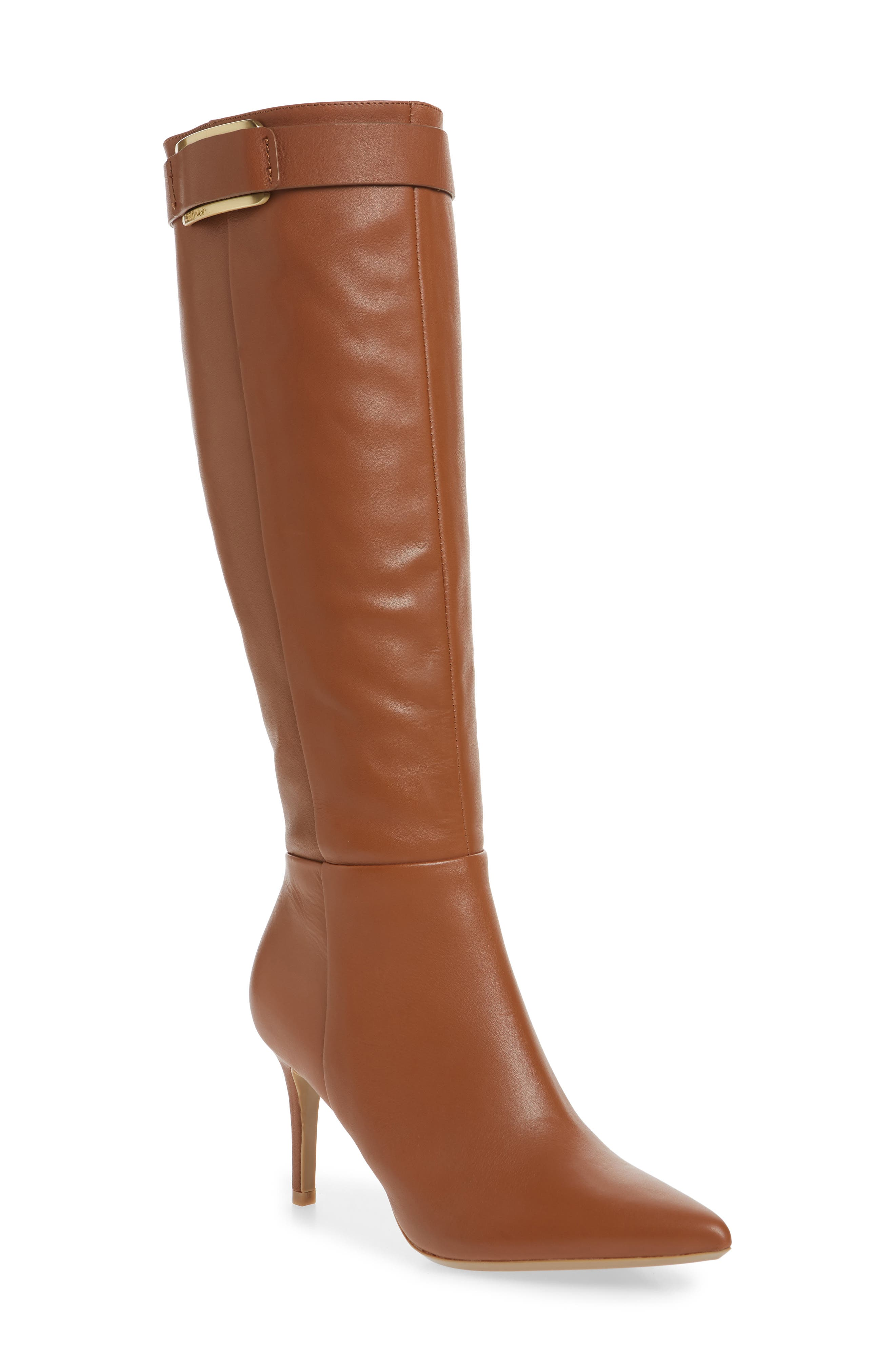 Calvin Klein Glydia Stiletto Knee High Boot, Wide Calf- Brown
