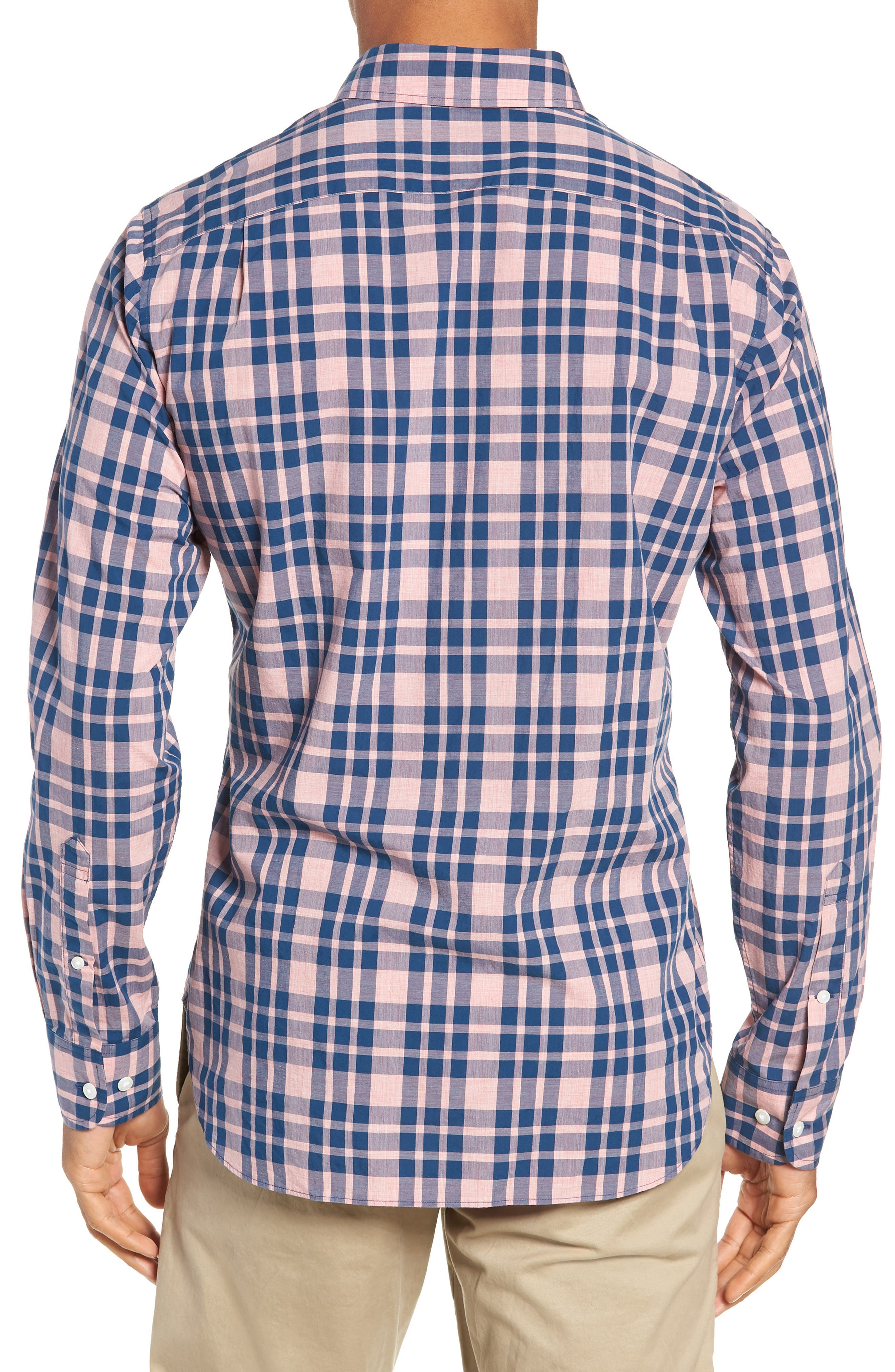 Summerweight Slim Fit Check Sport Shirt,                             Alternate thumbnail 3, color,                             HARDY PLAID - HEATHER ROSE