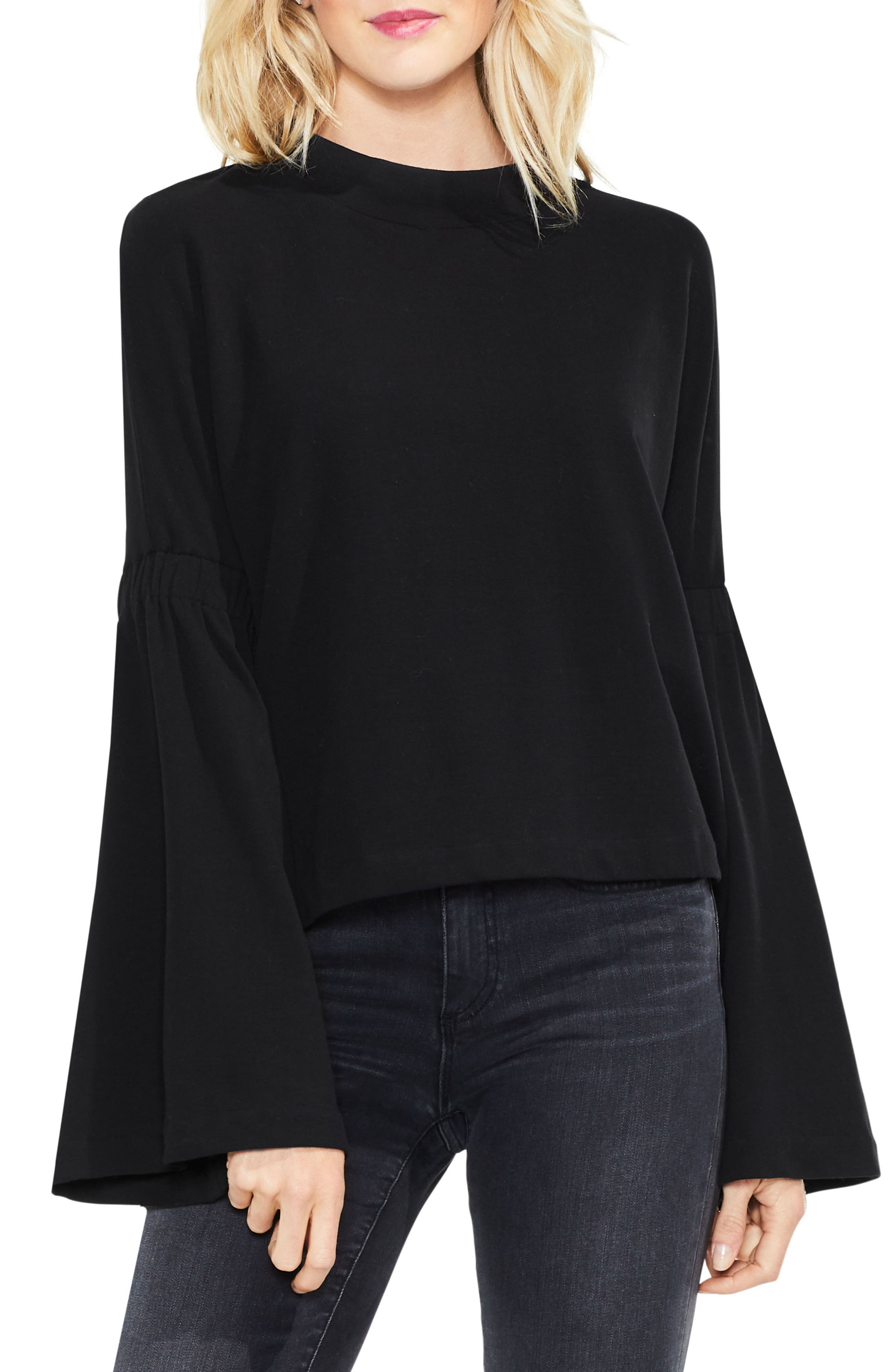 Mock Neck Bell Sleeve Top,                             Main thumbnail 1, color,                             006