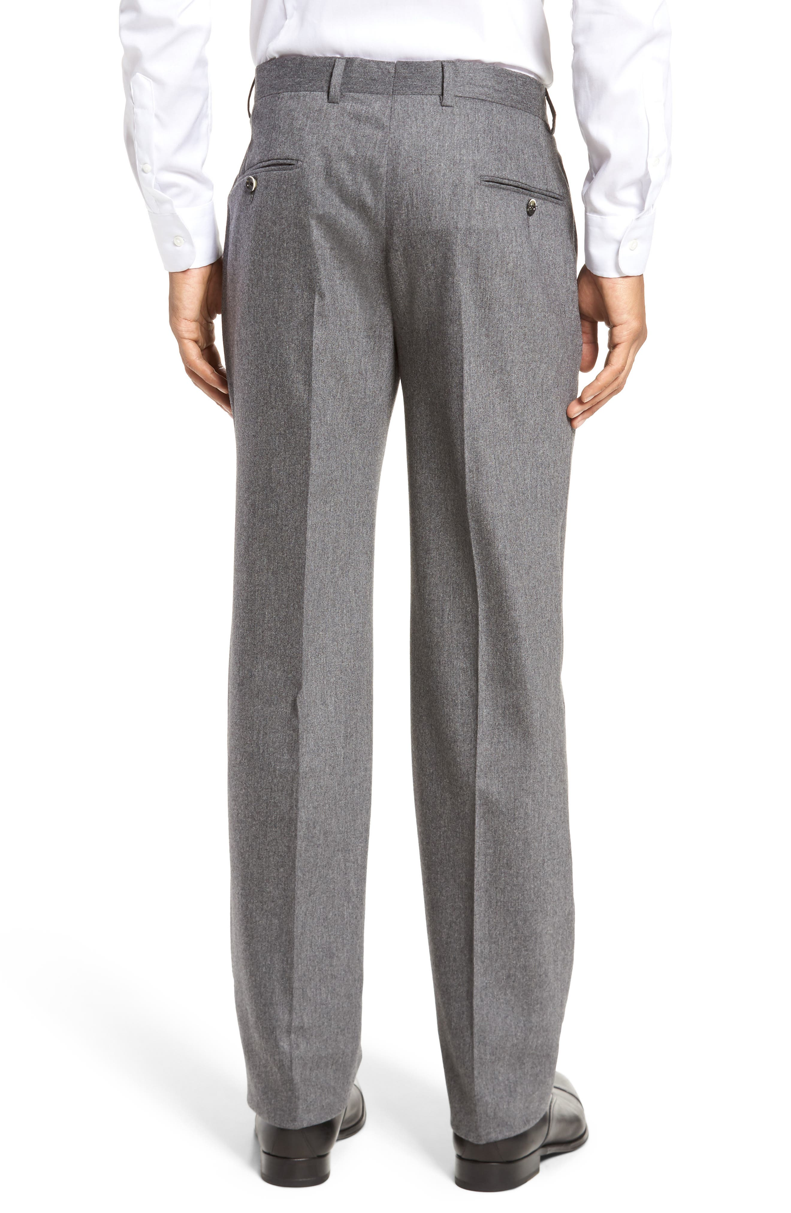 Classic B Fit Flat Front Solid Wool Blend Trousers,                             Alternate thumbnail 3, color,                             030