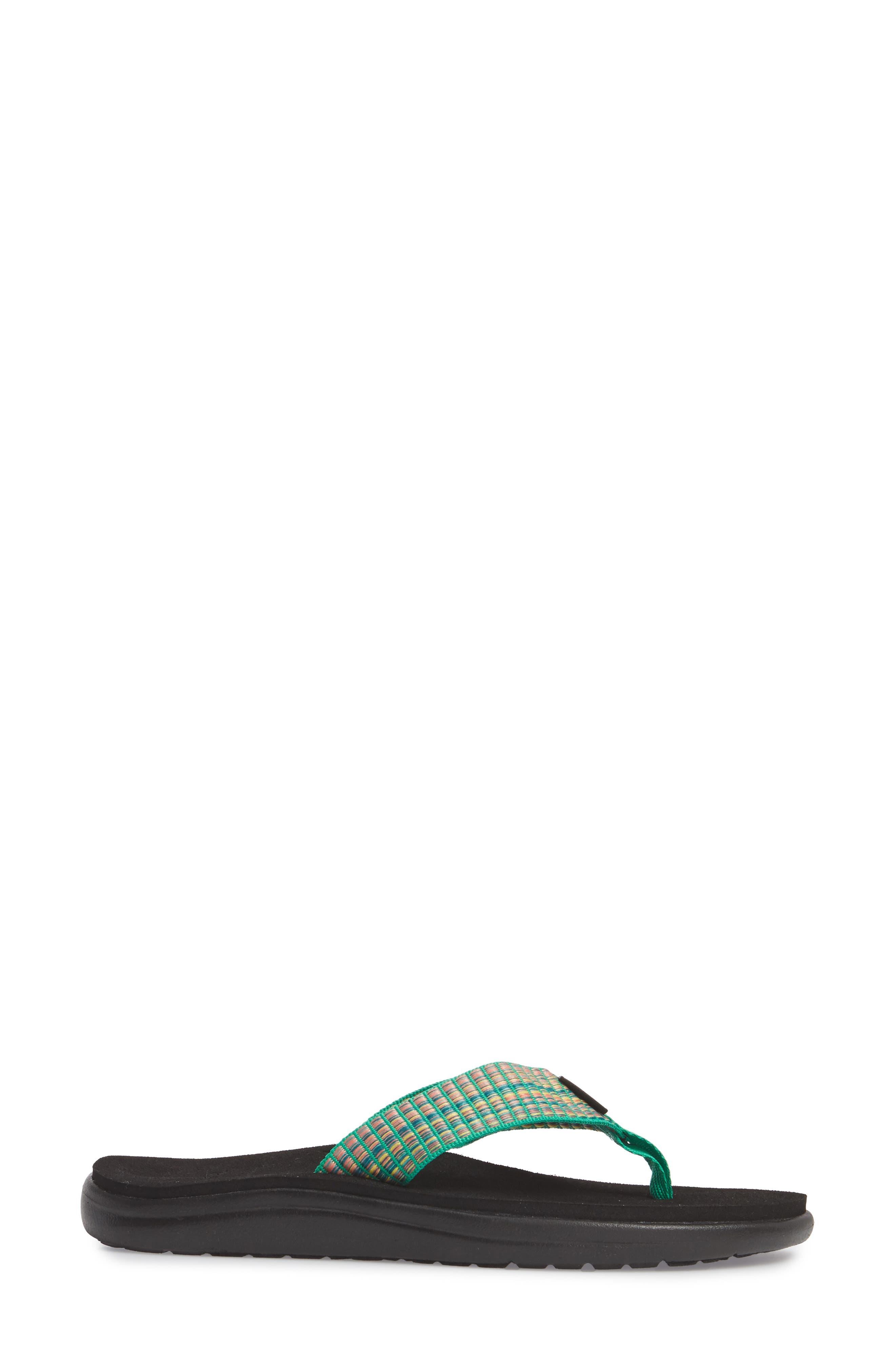 Voya Flip Flop,                             Alternate thumbnail 3, color,                             BAR STREET MULTI FERN FABRIC