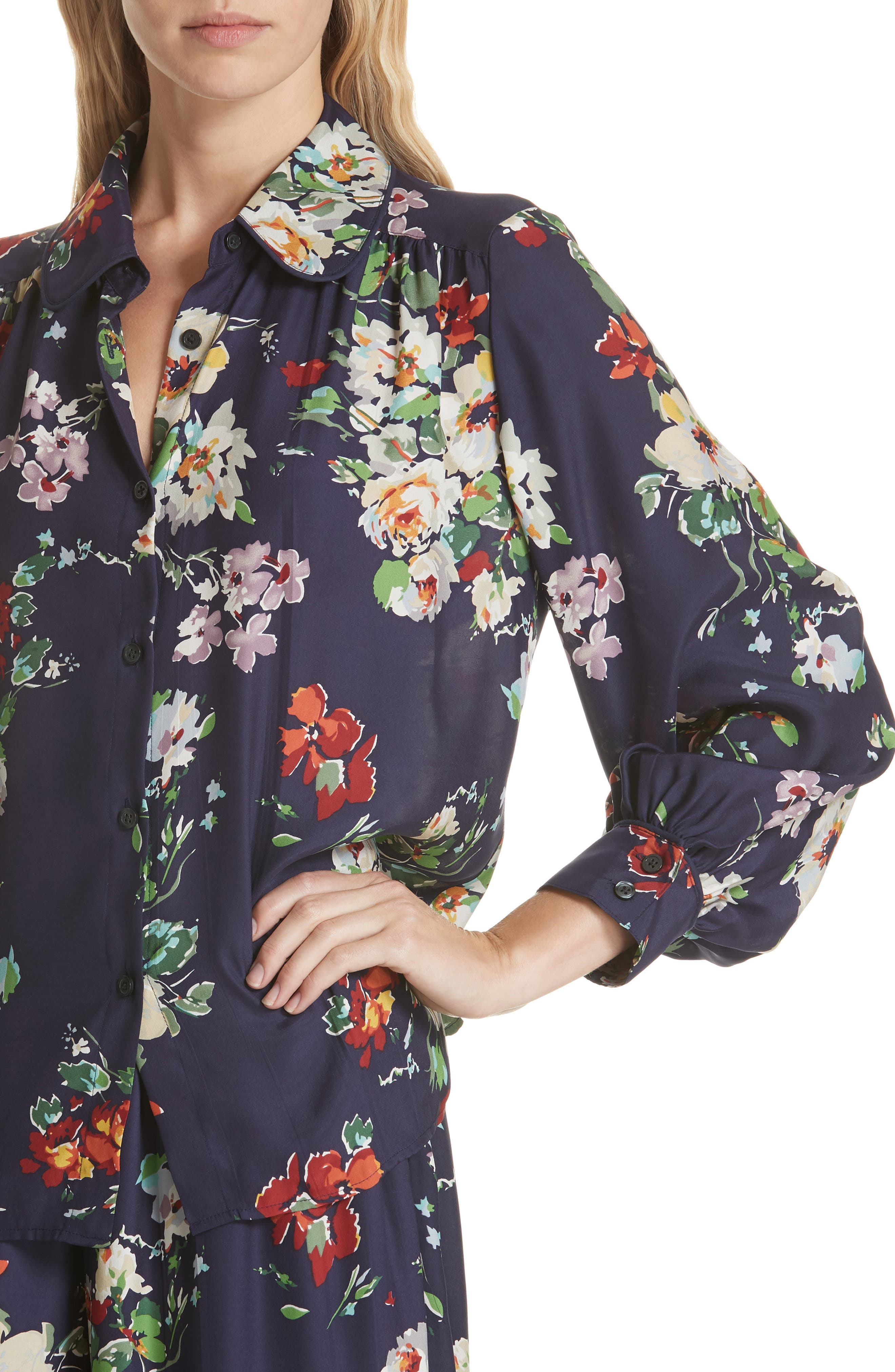 Floral Silk Blouse,                             Alternate thumbnail 4, color,                             NIGHTFALL FLORAL PRINT