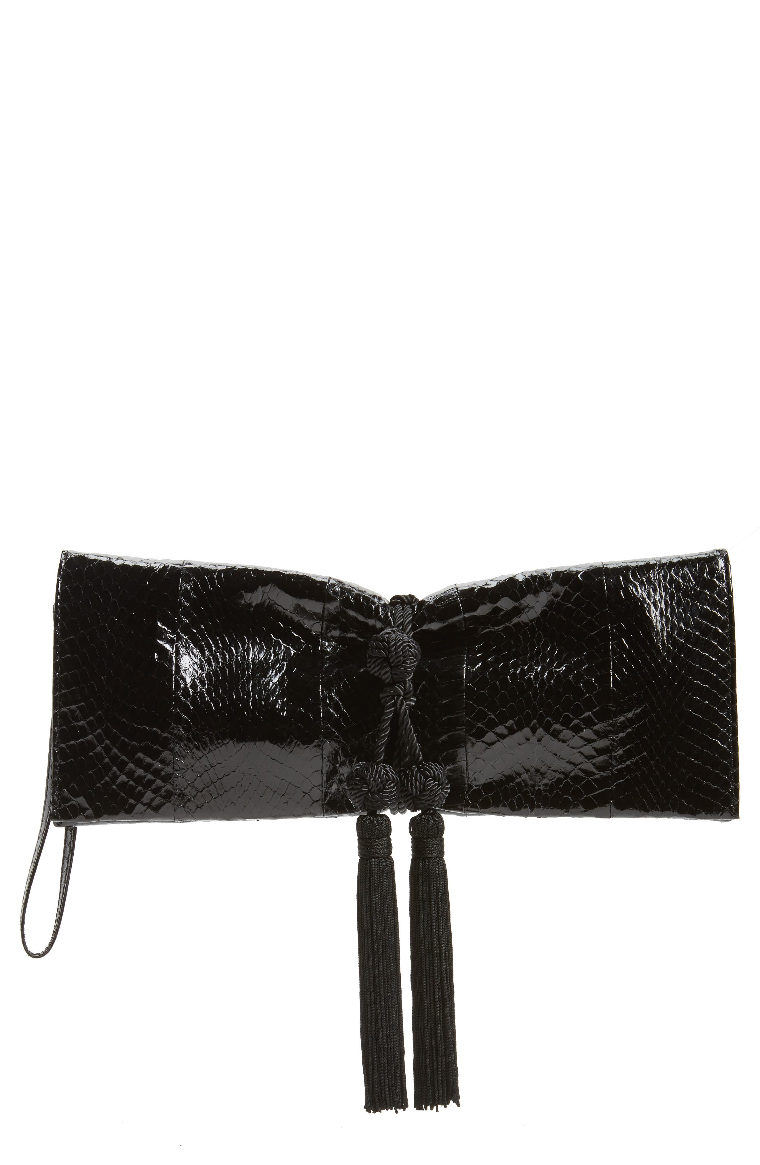 Circa Snake-Embossed Leather Clutch,                         Main,                         color, 001