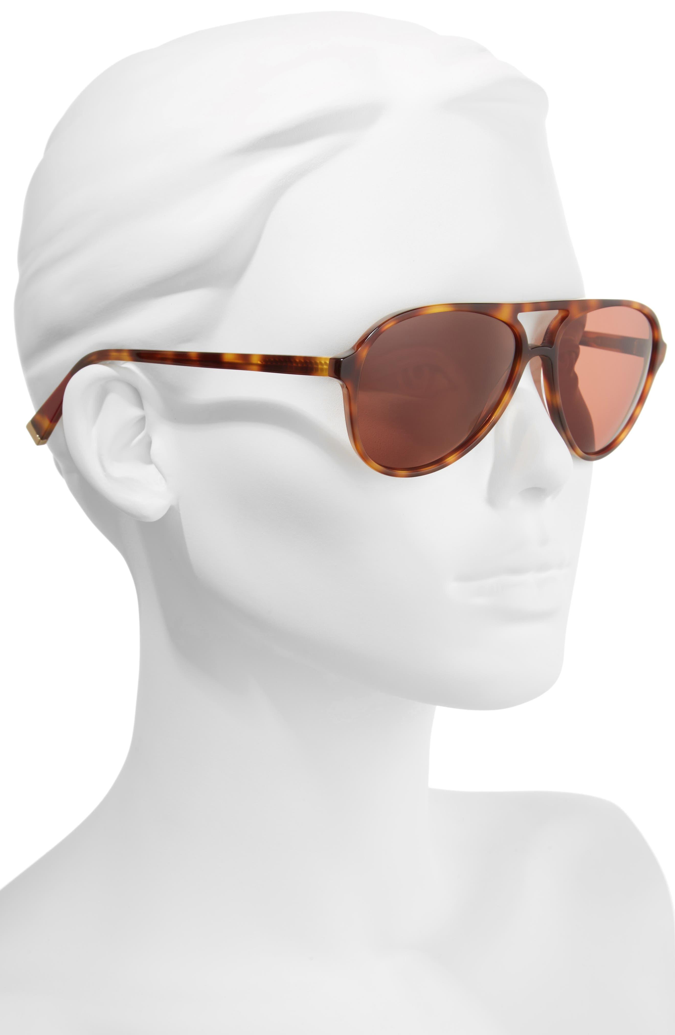 58mm Gradient Aviator Sunglasses,                             Alternate thumbnail 2, color,                             TORTOISE