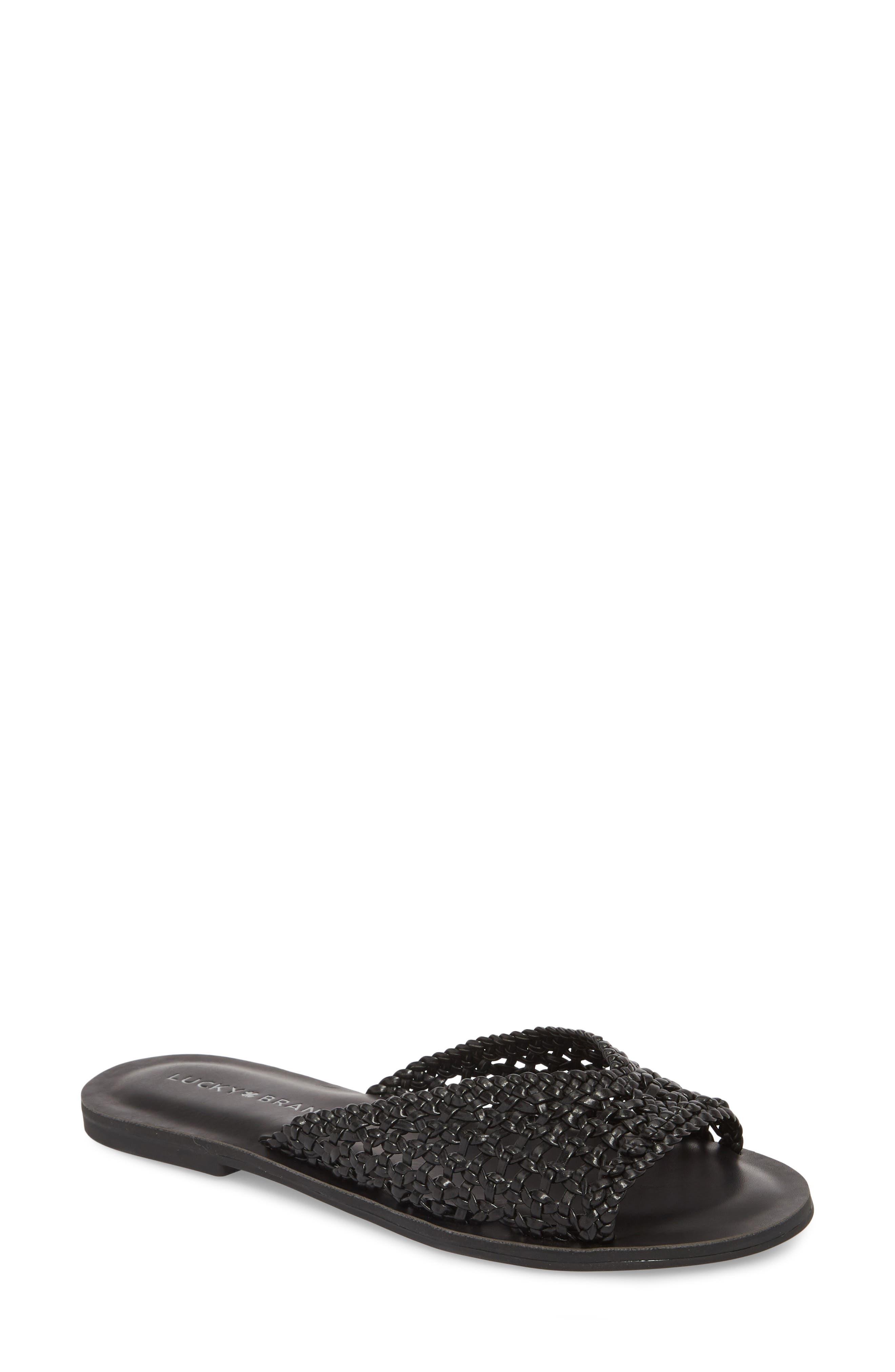 Adola Slide Sandal,                             Main thumbnail 1, color,                             BLACK LEATHER