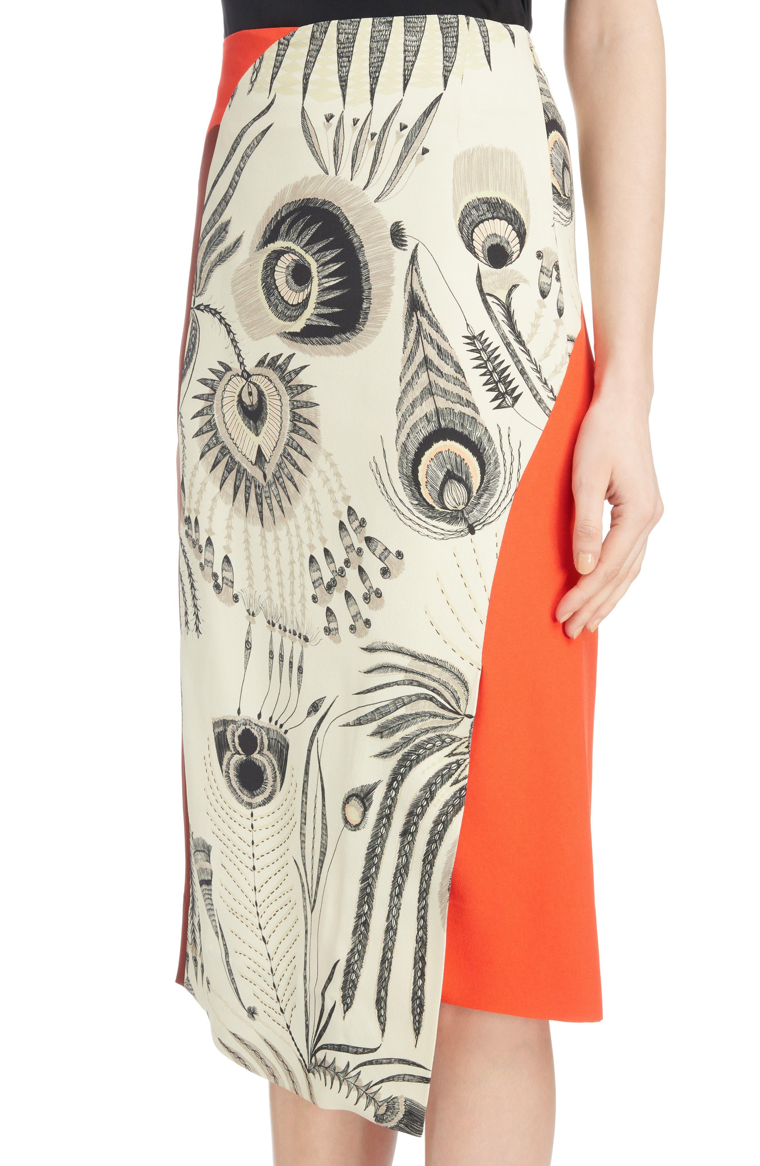 Asymmetrical Colorblock Print Skirt,                             Alternate thumbnail 4, color,                             ECRU