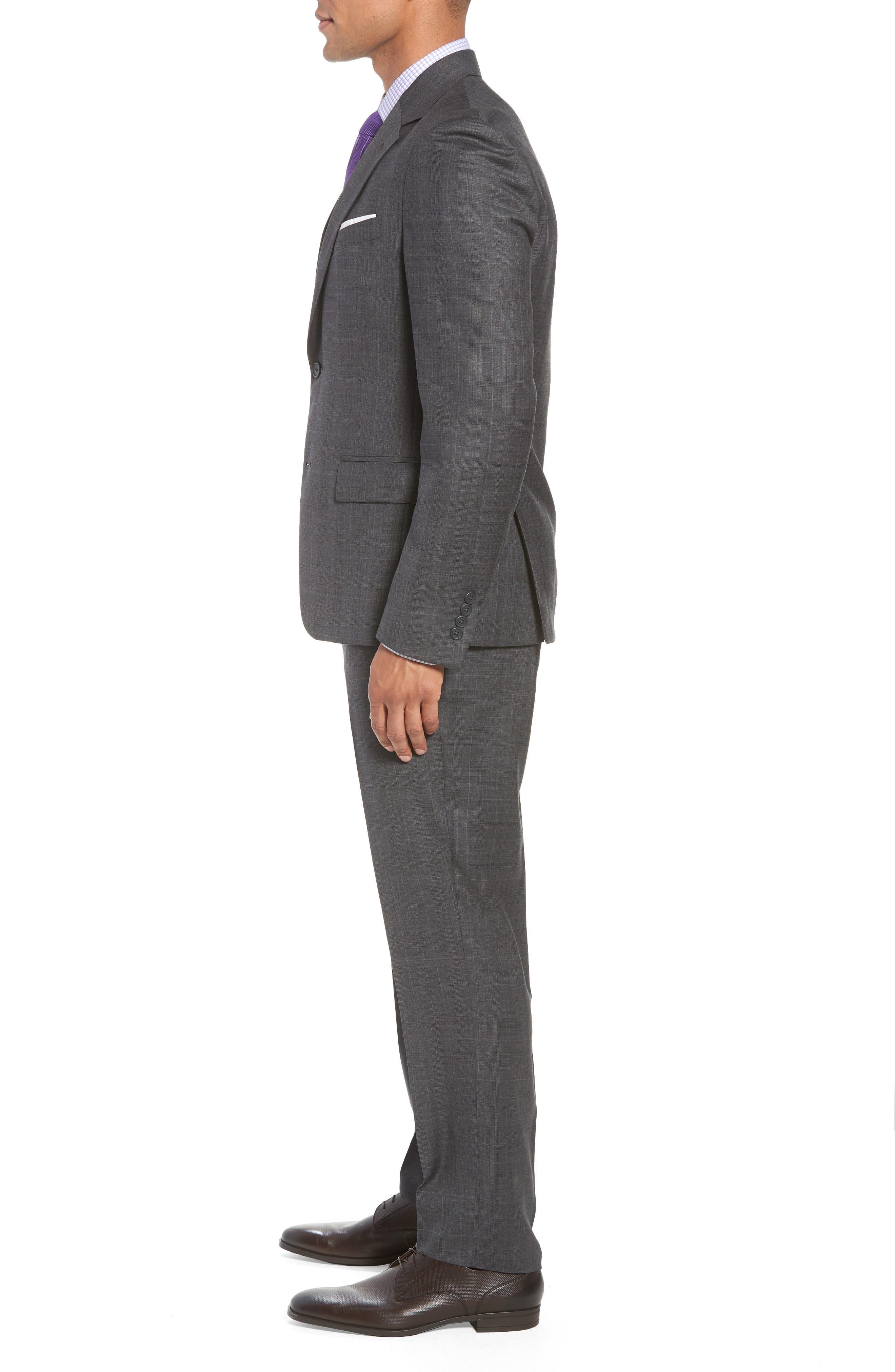Trim Fit Plaid Wool Suit,                             Alternate thumbnail 3, color,                             010