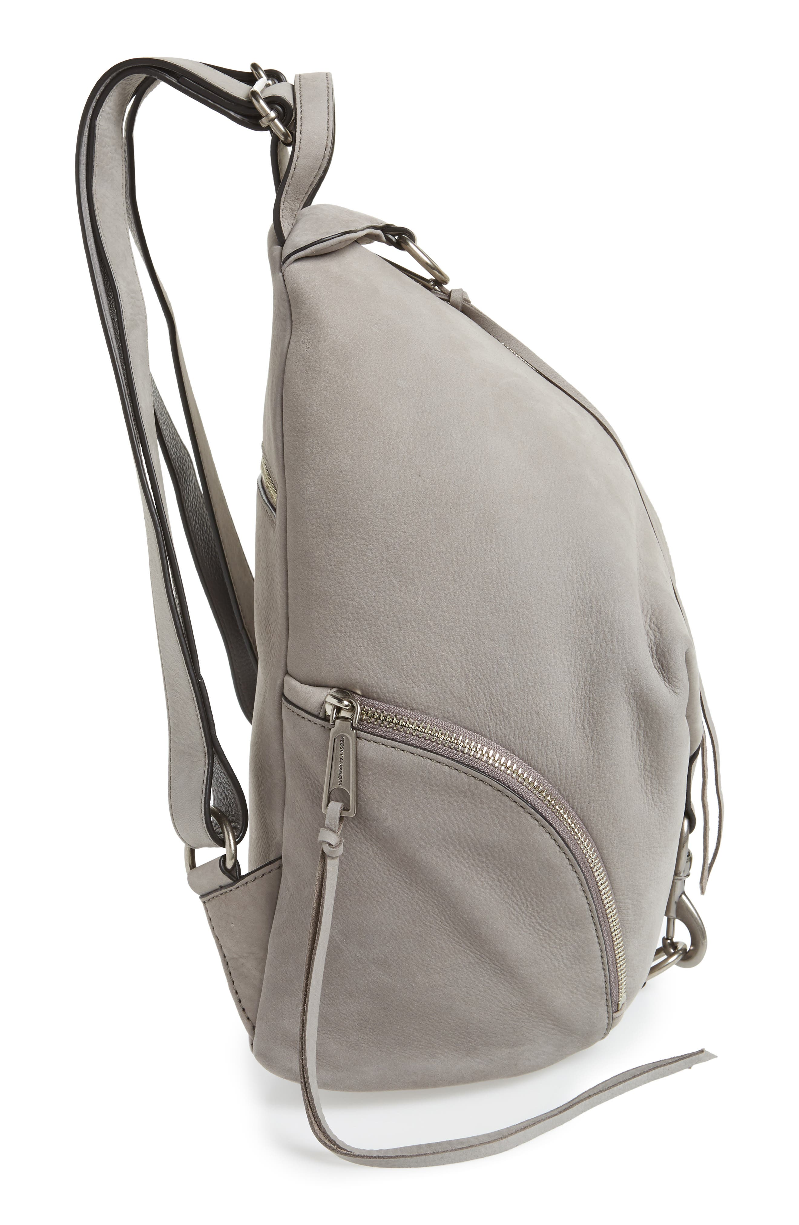 Julian Nubuck Leather Backpack,                             Alternate thumbnail 5, color,                             GREY