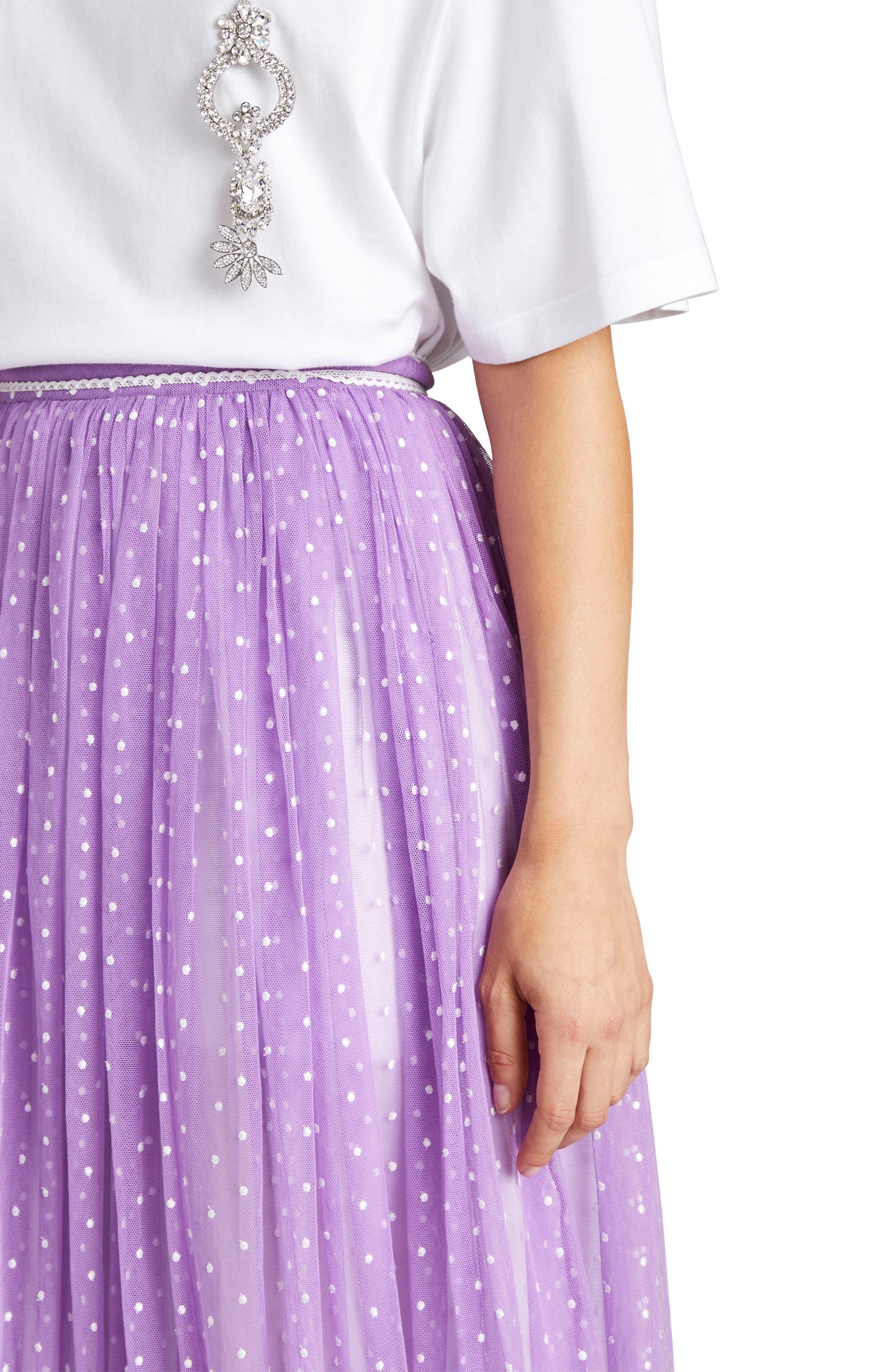 Flocked Tulle Maxi Skirt,                             Alternate thumbnail 3, color,                             520