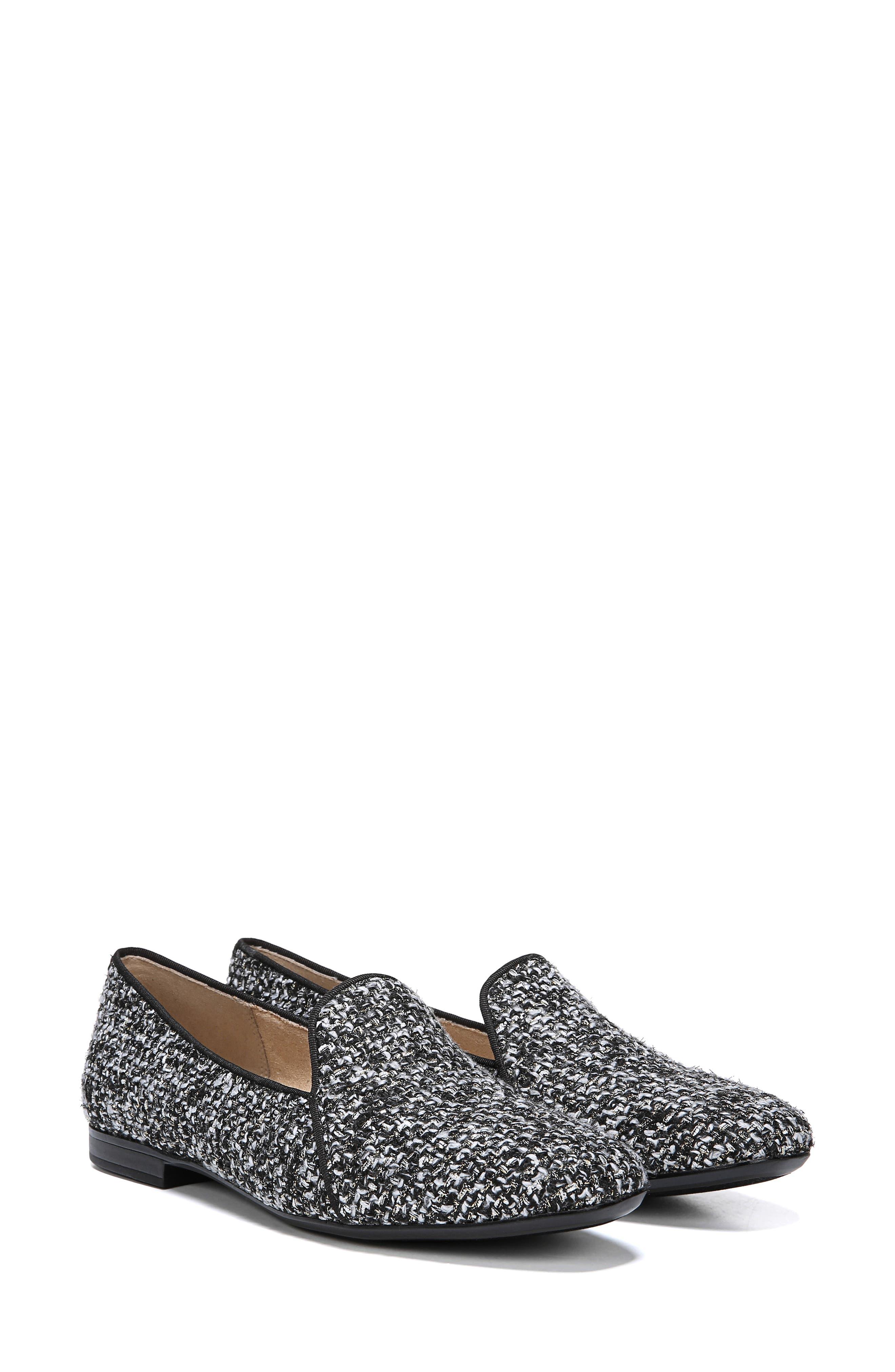 Emiline 2 Loafer,                             Alternate thumbnail 6, color,                             BLACK/ WHITE TWEED FABRIC