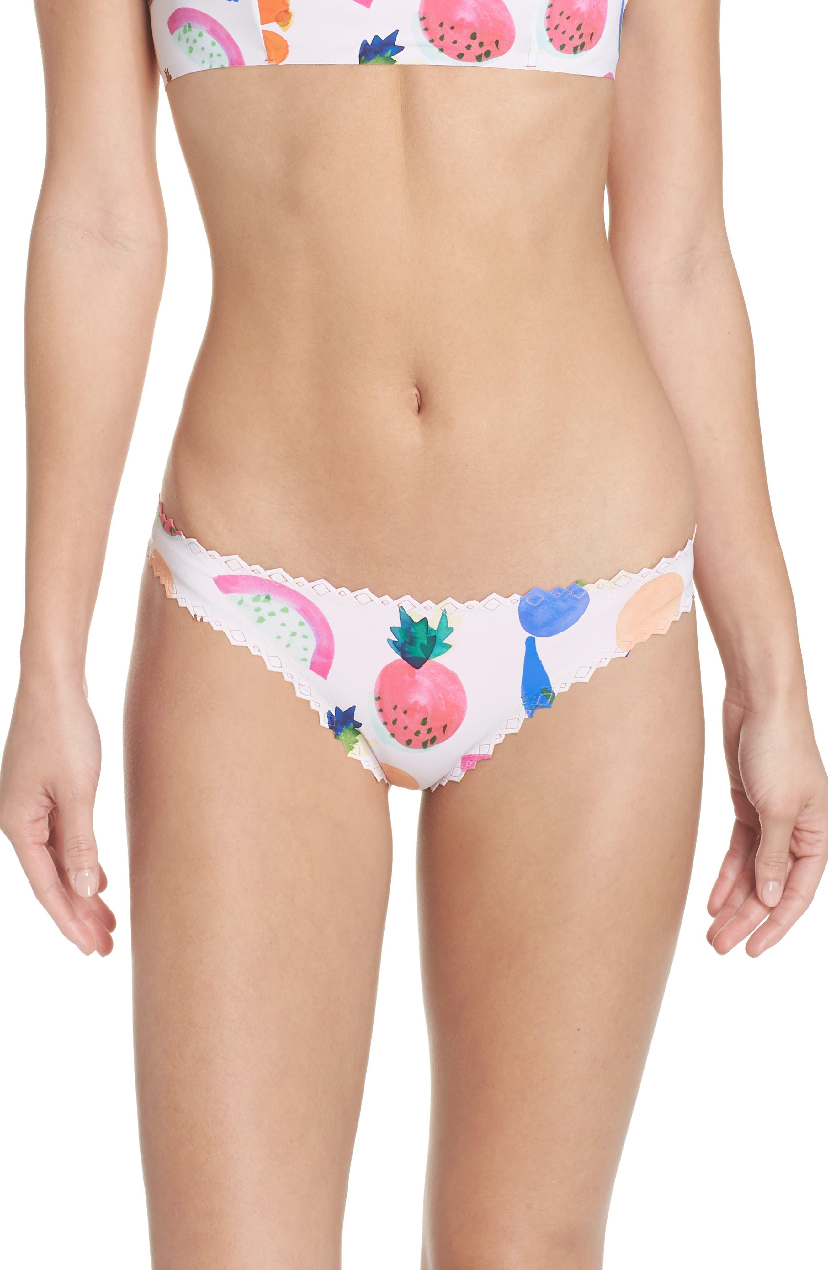 Seamless Scalloped Reversible Bikini Bottoms,                         Main,                         color, COPACABANA