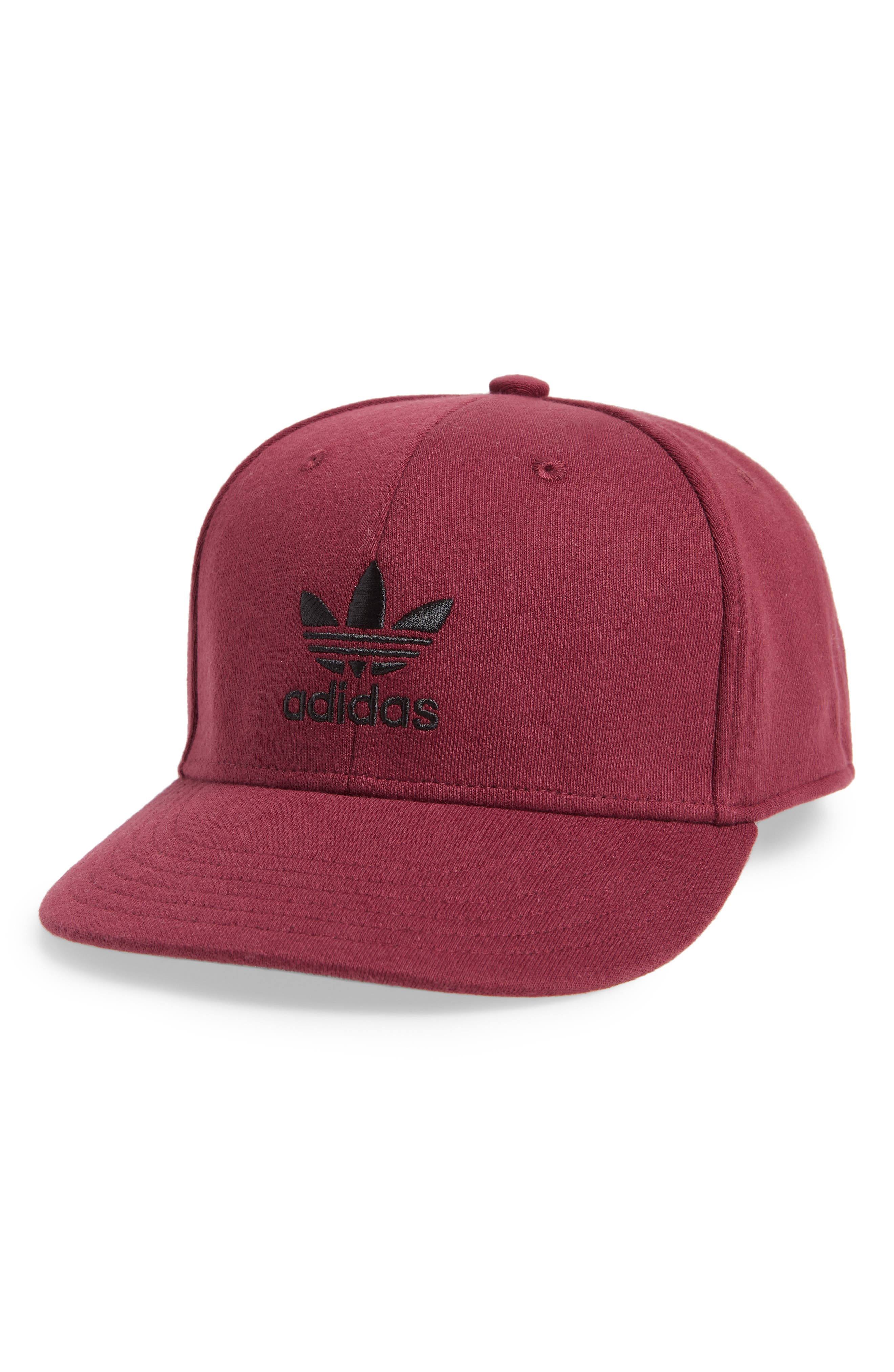 58d6c3fd99f ADIDAS ORIGINALS. Trefoil Snapback Baseball Cap - Red in Collegiate Burgundy   Black
