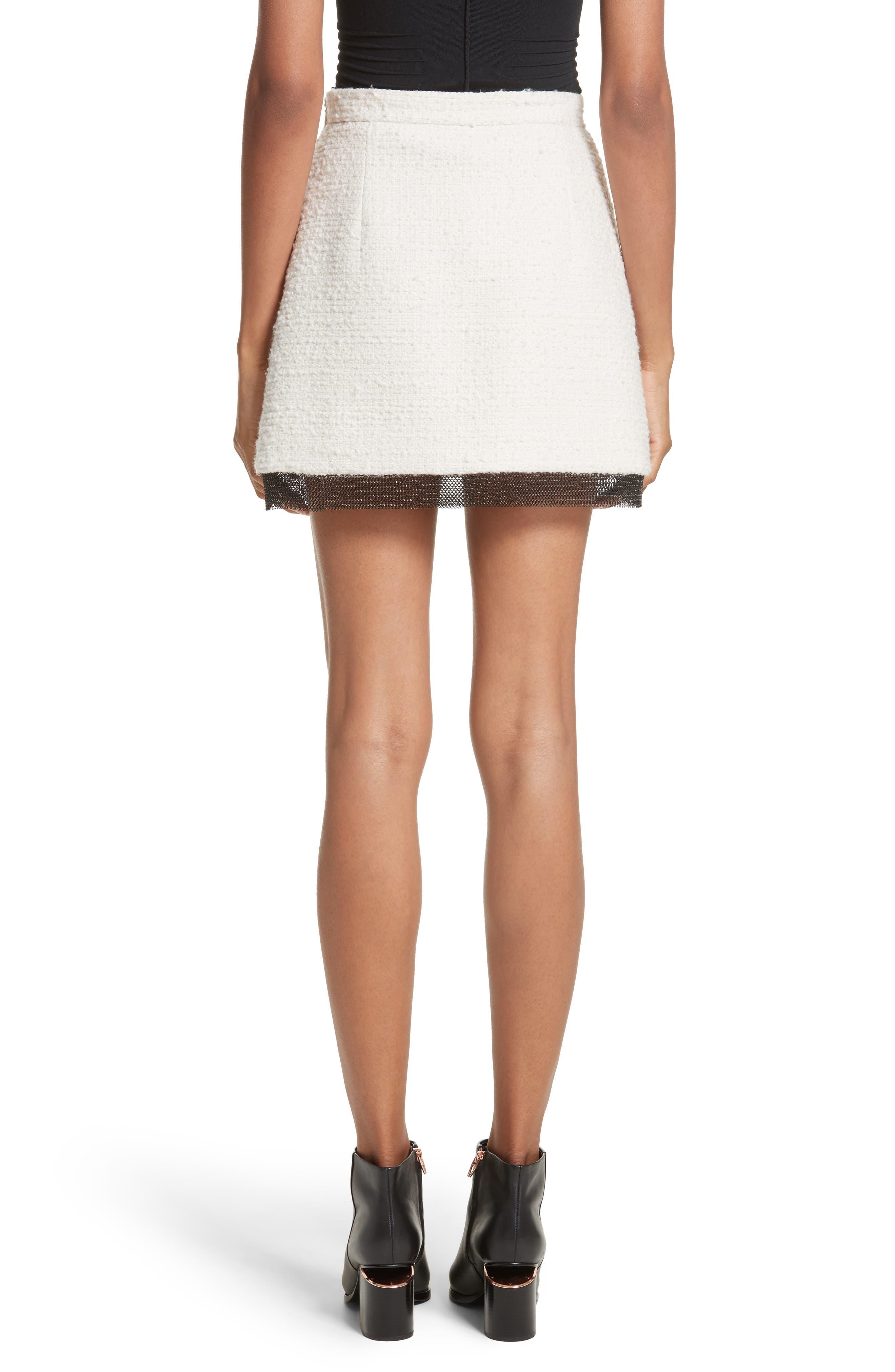 Chain Mail Trim Tweed Miniskirt,                             Alternate thumbnail 2, color,