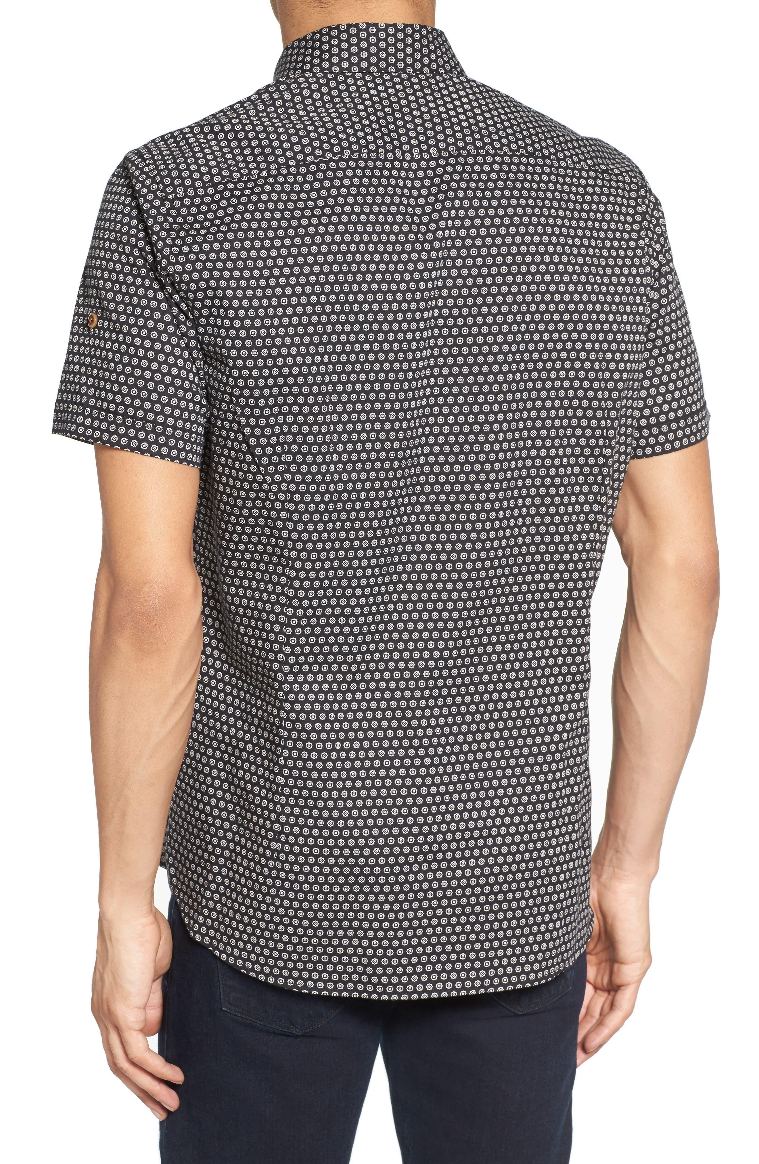 Braaks Extra Slim Fit Flower Print Sport Shirt,                             Alternate thumbnail 2, color,                             001
