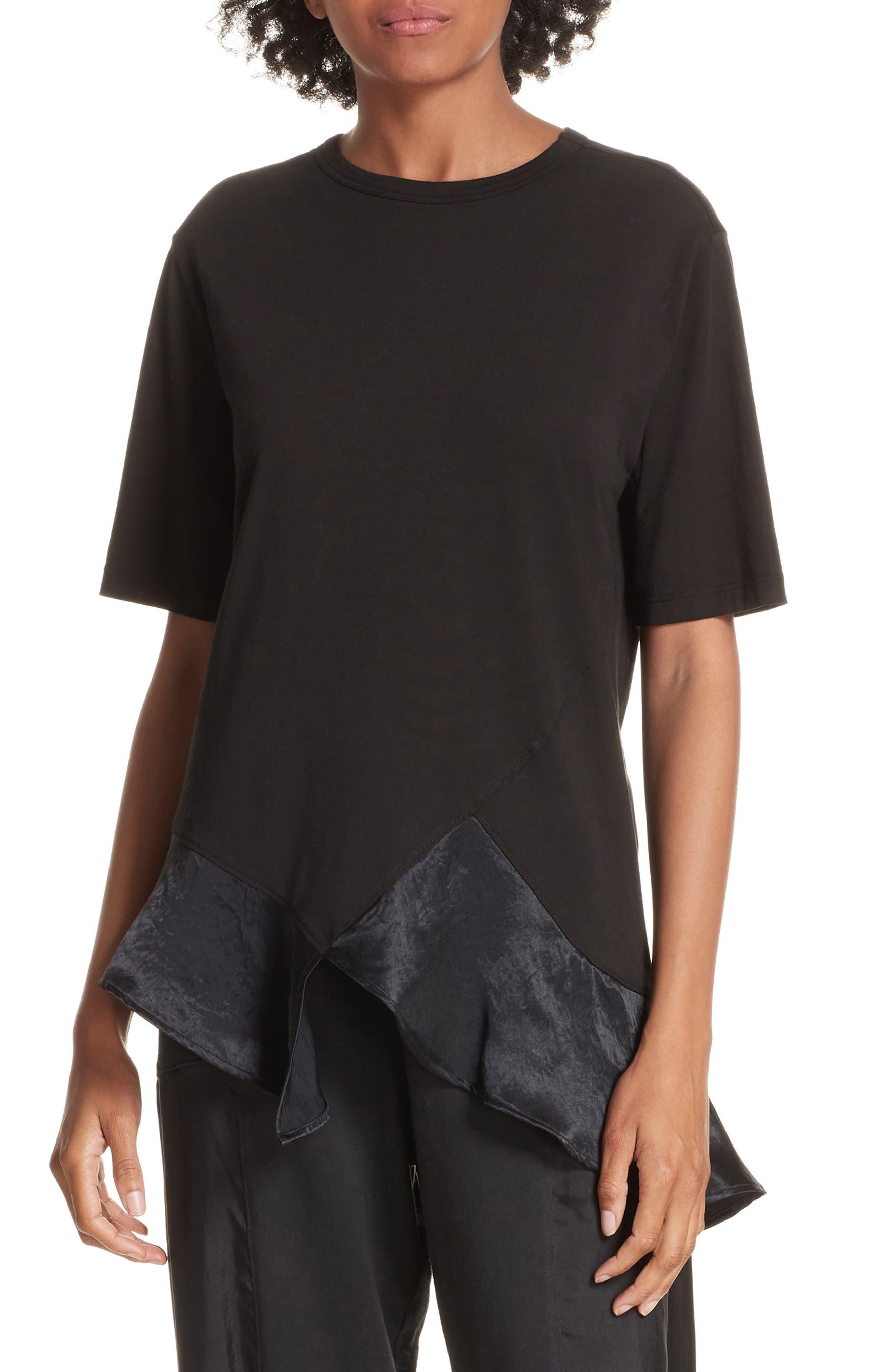 Ruffle Asymmetric Top,                         Main,                         color, BLACK