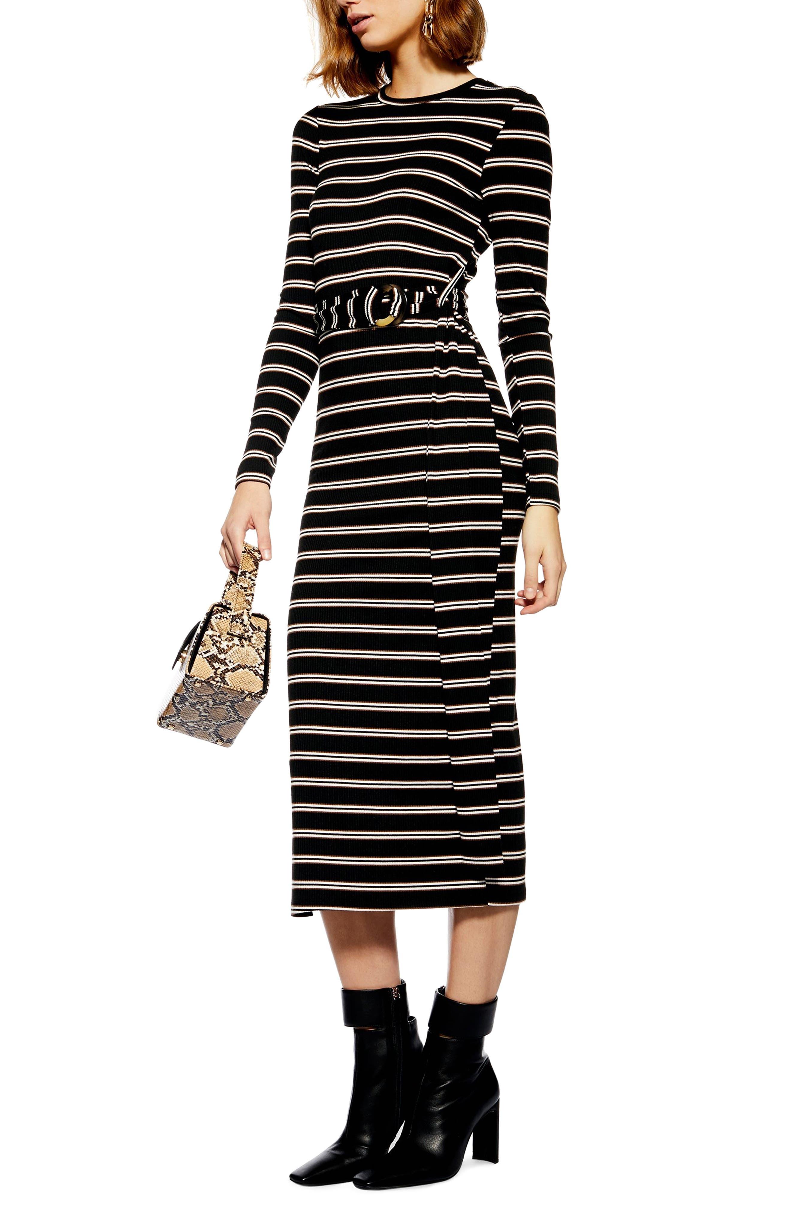 Topshop Striped Belted Midi Dress, US (fits like 10-12) - Black