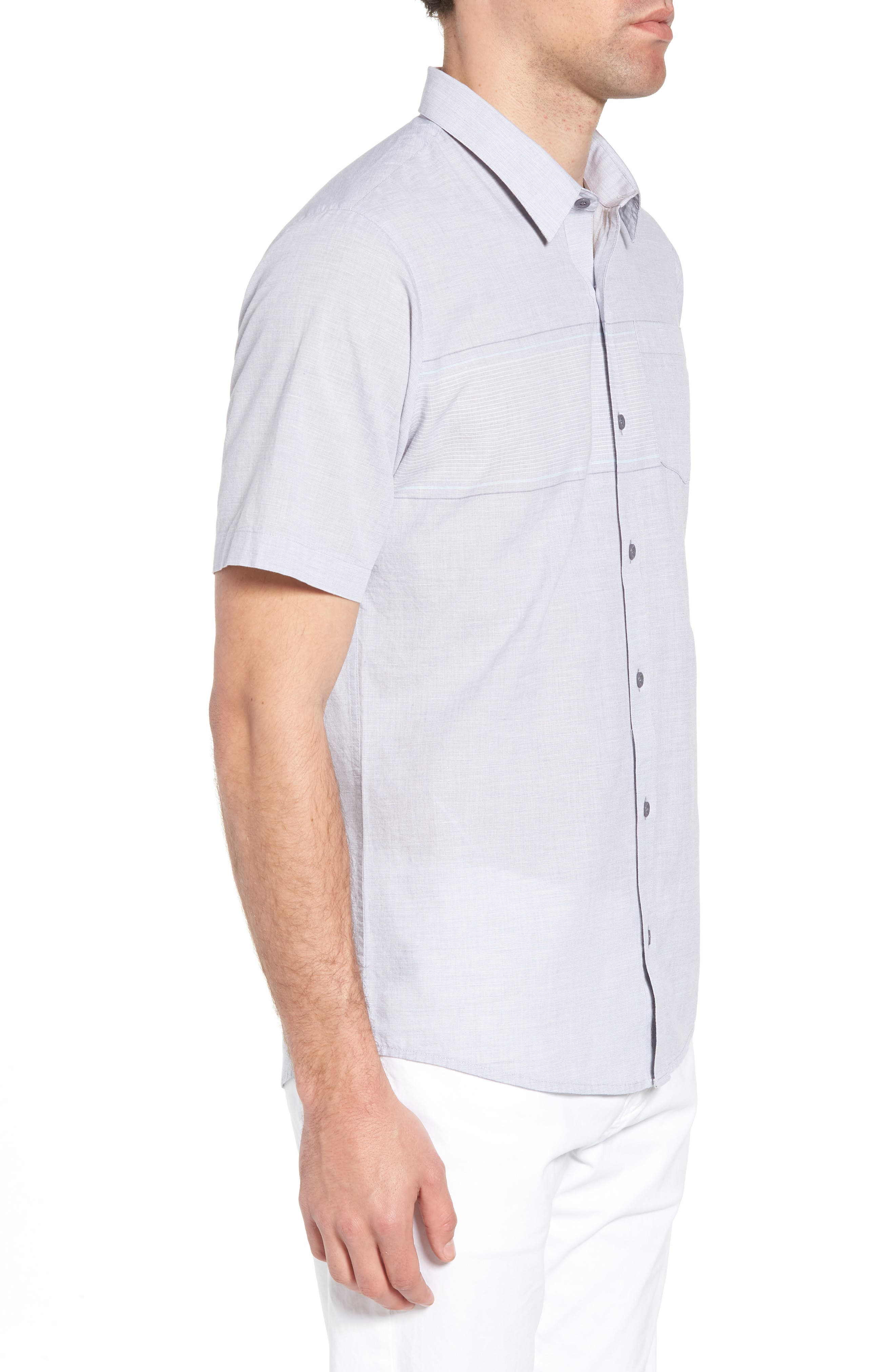 Oscar Regular Fit Sport Shirt,                             Alternate thumbnail 3, color,                             HEATHER GRASILLE