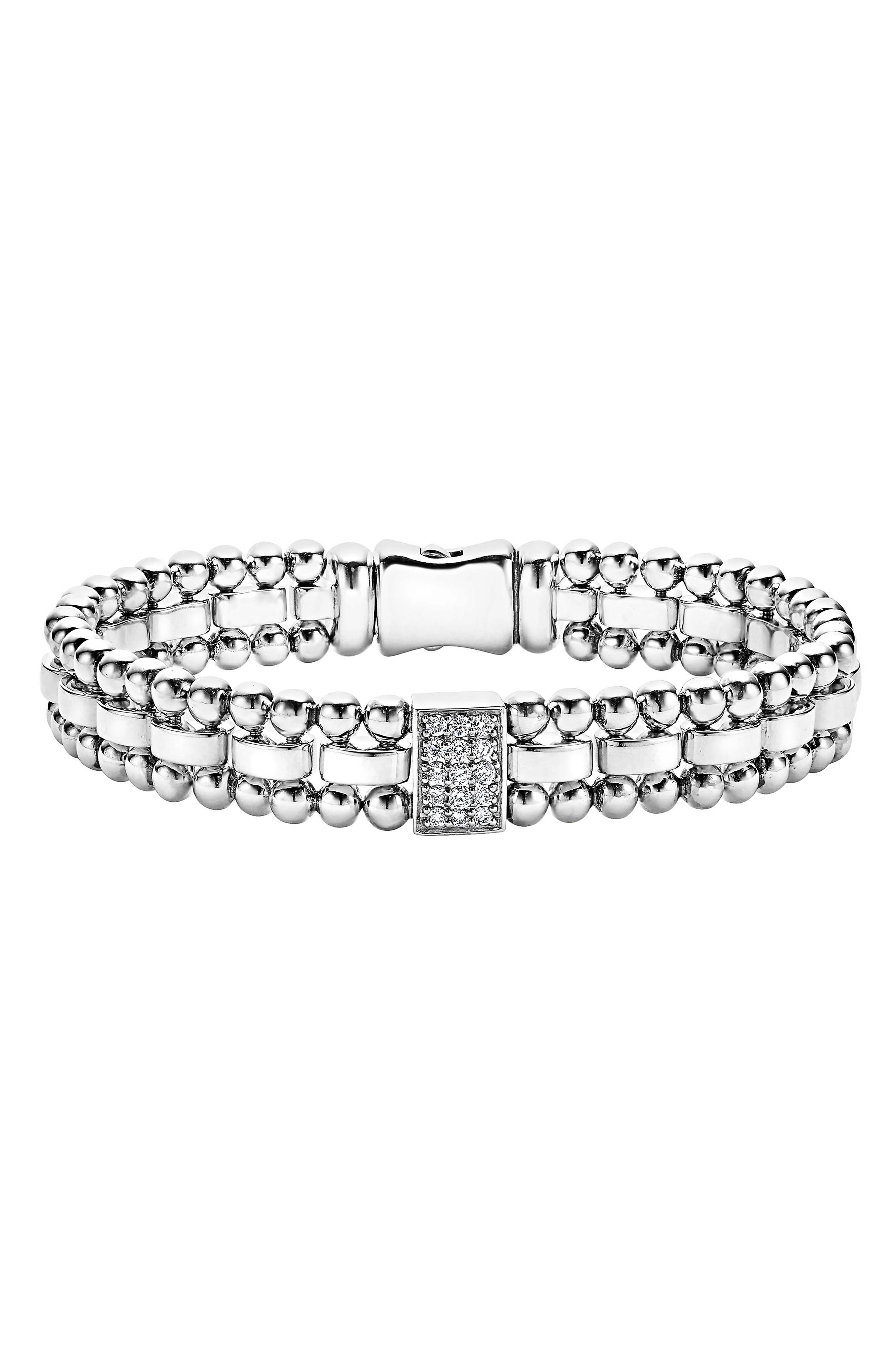 Caviar Spark Diamond Rectangle Link Bracelet,                             Main thumbnail 1, color,                             SILVER/ DIAMOND