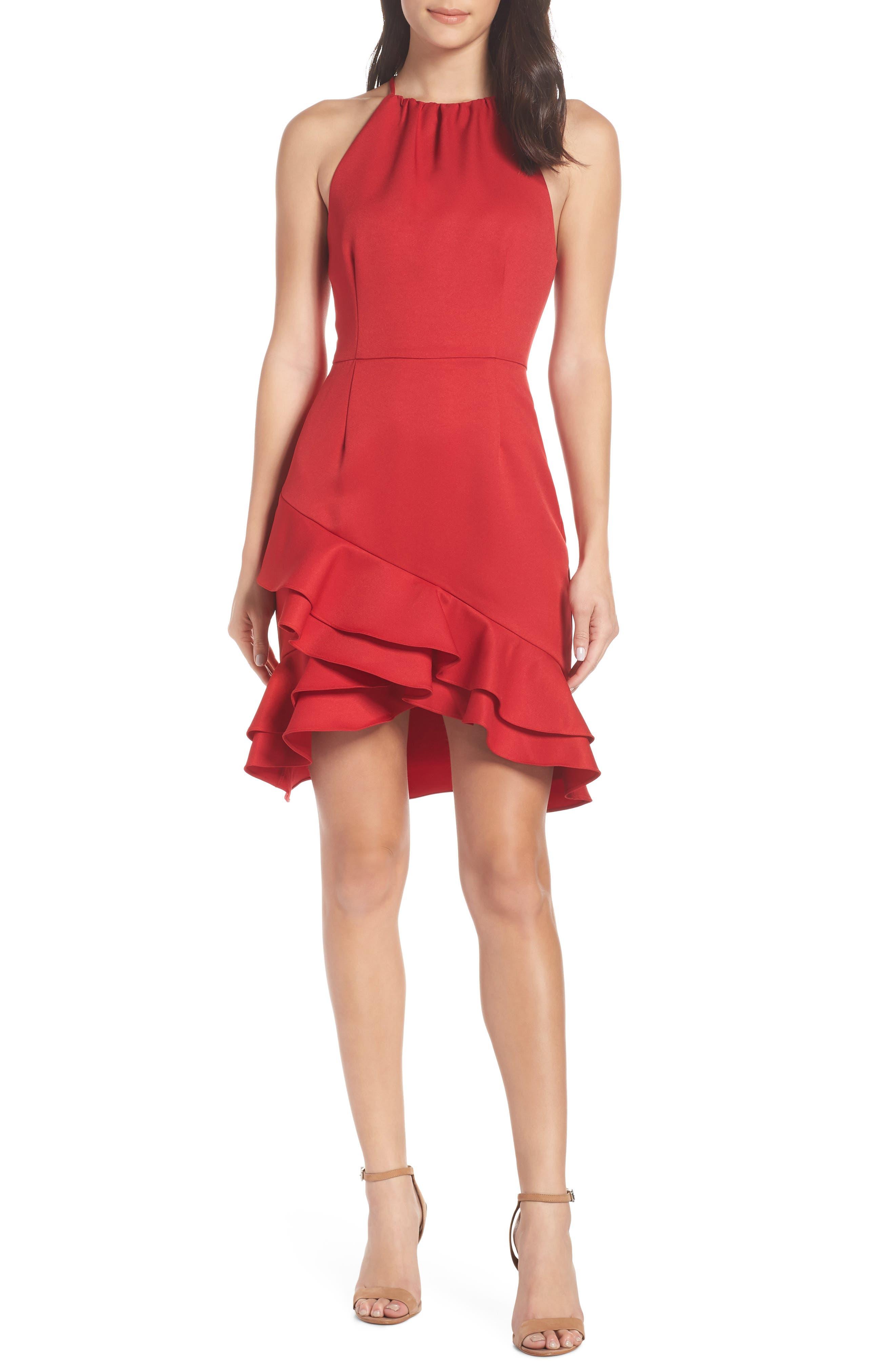 Cooper St Senorita High Neck Ruffle Dress, Red
