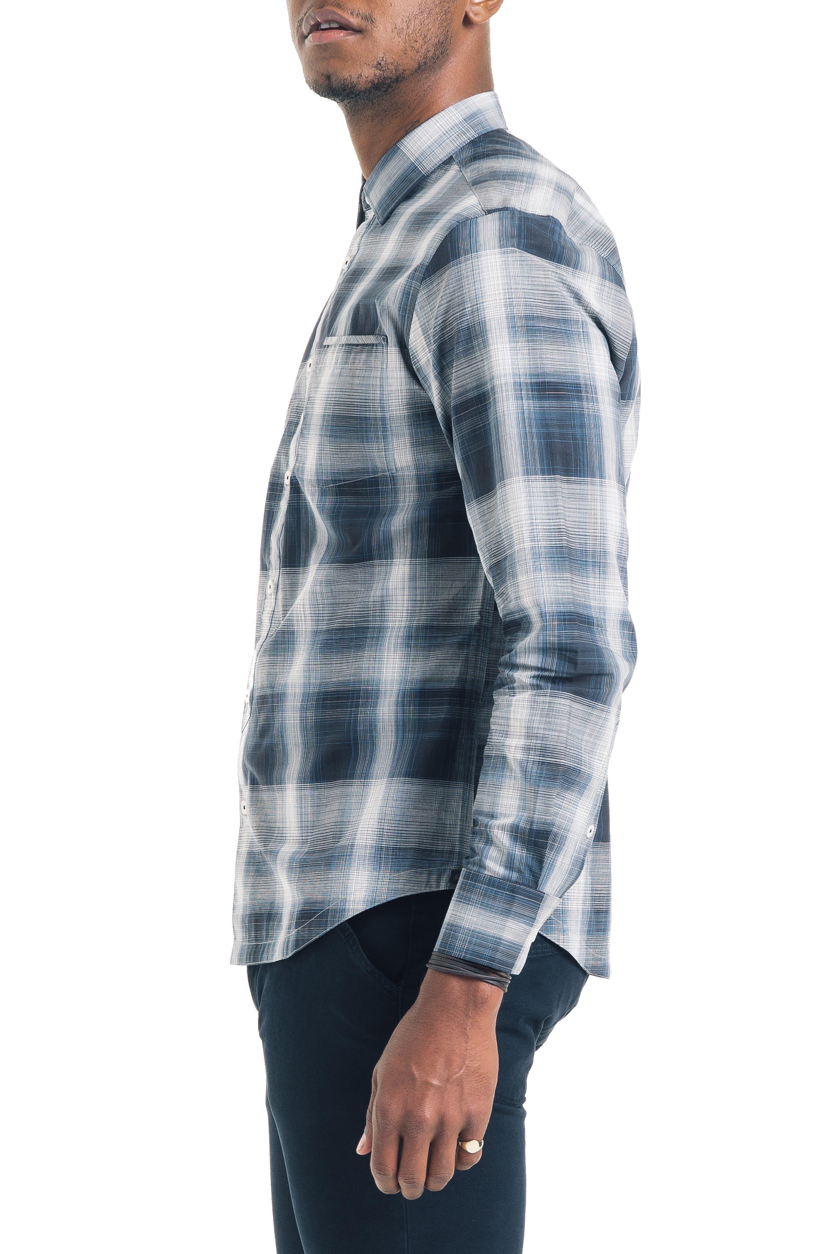 Bonsai Slim Fit Sport Shirt,                             Alternate thumbnail 3, color,                             NAVY