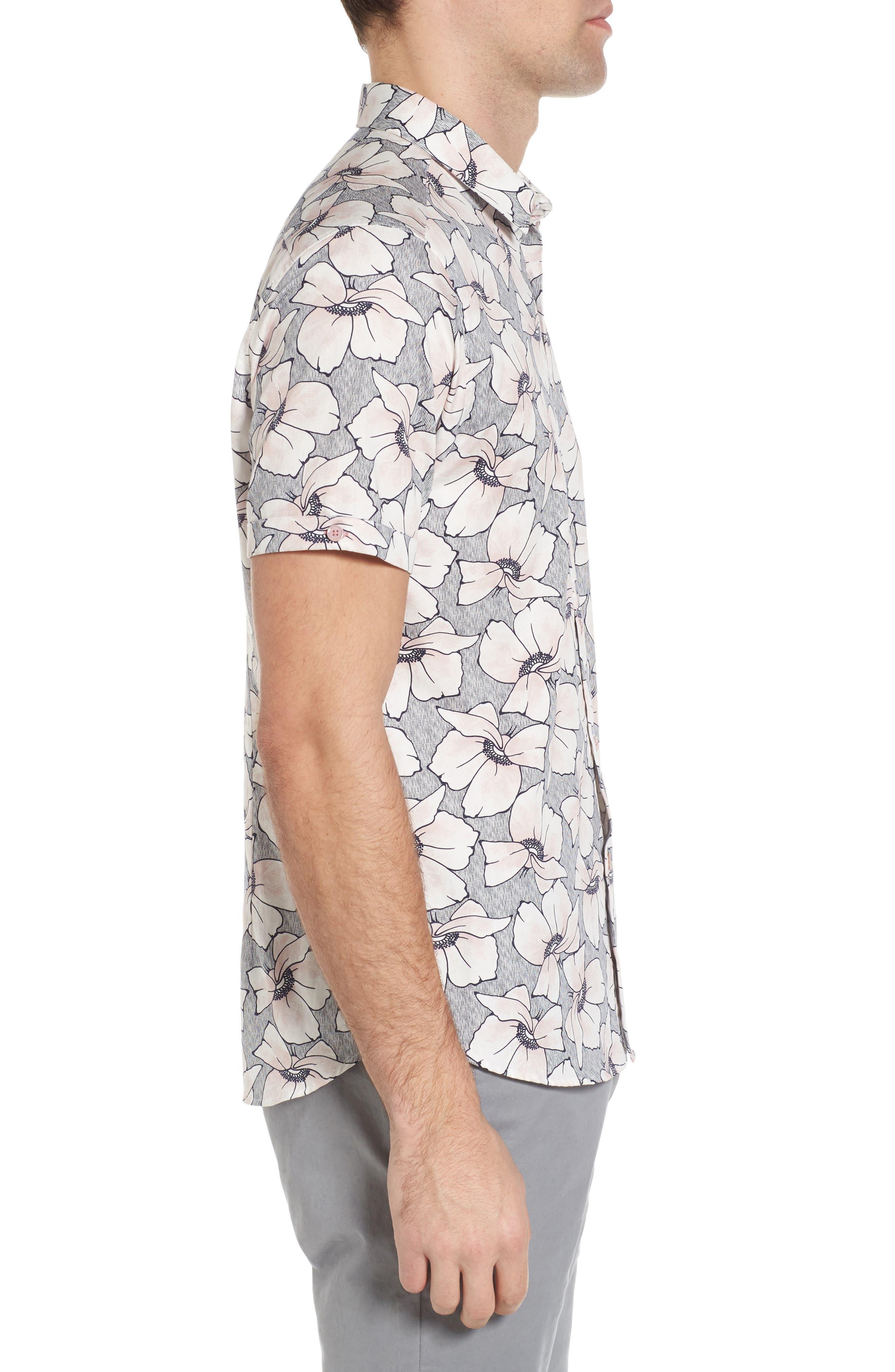 TED BAKER LONDON,                             Bigflo Floral Short Sleeve Sport Shirt,                             Alternate thumbnail 3, color,                             683
