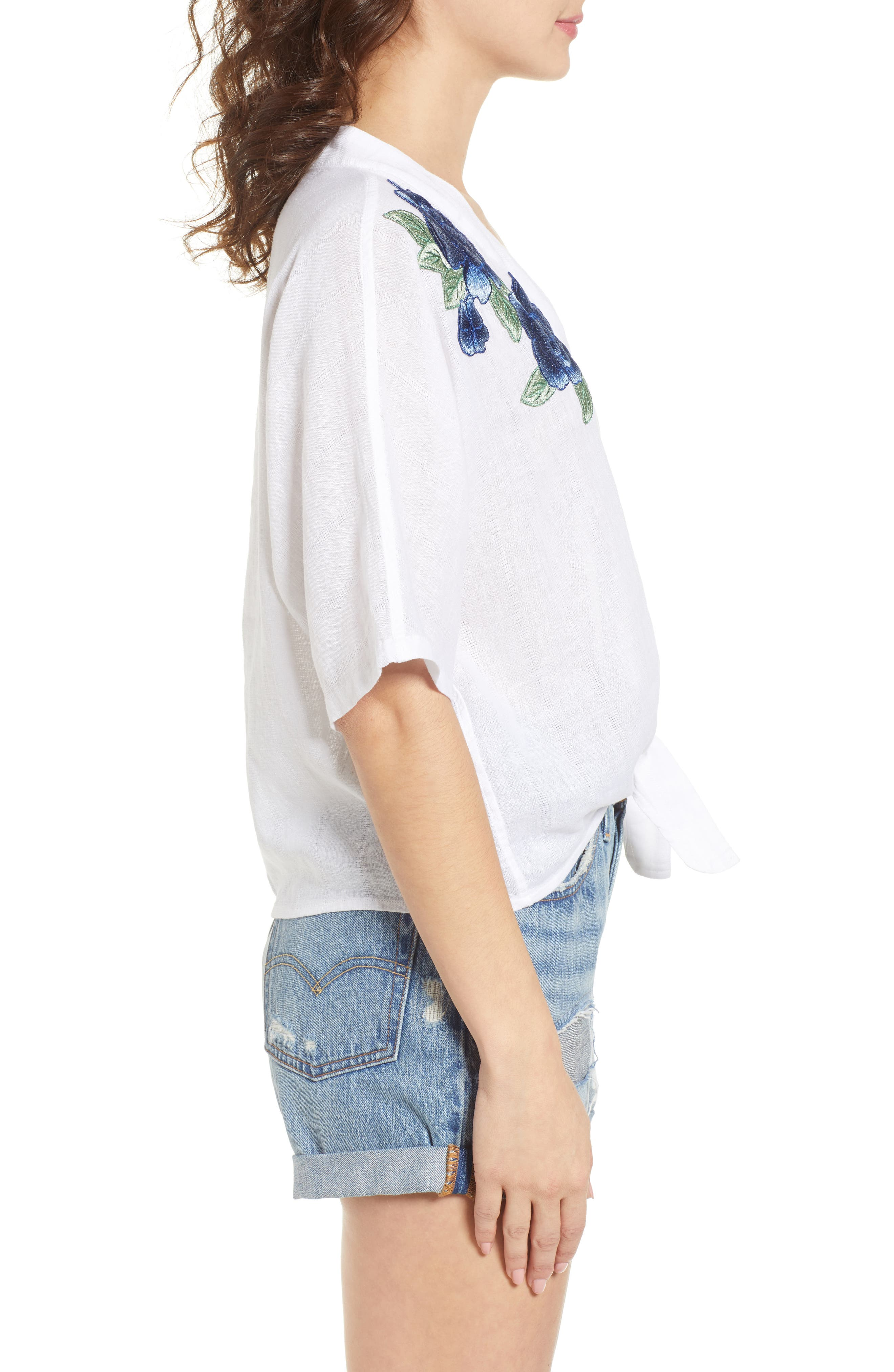 Thea Embroidered Tie Front Crop Top,                             Alternate thumbnail 3, color,                             142