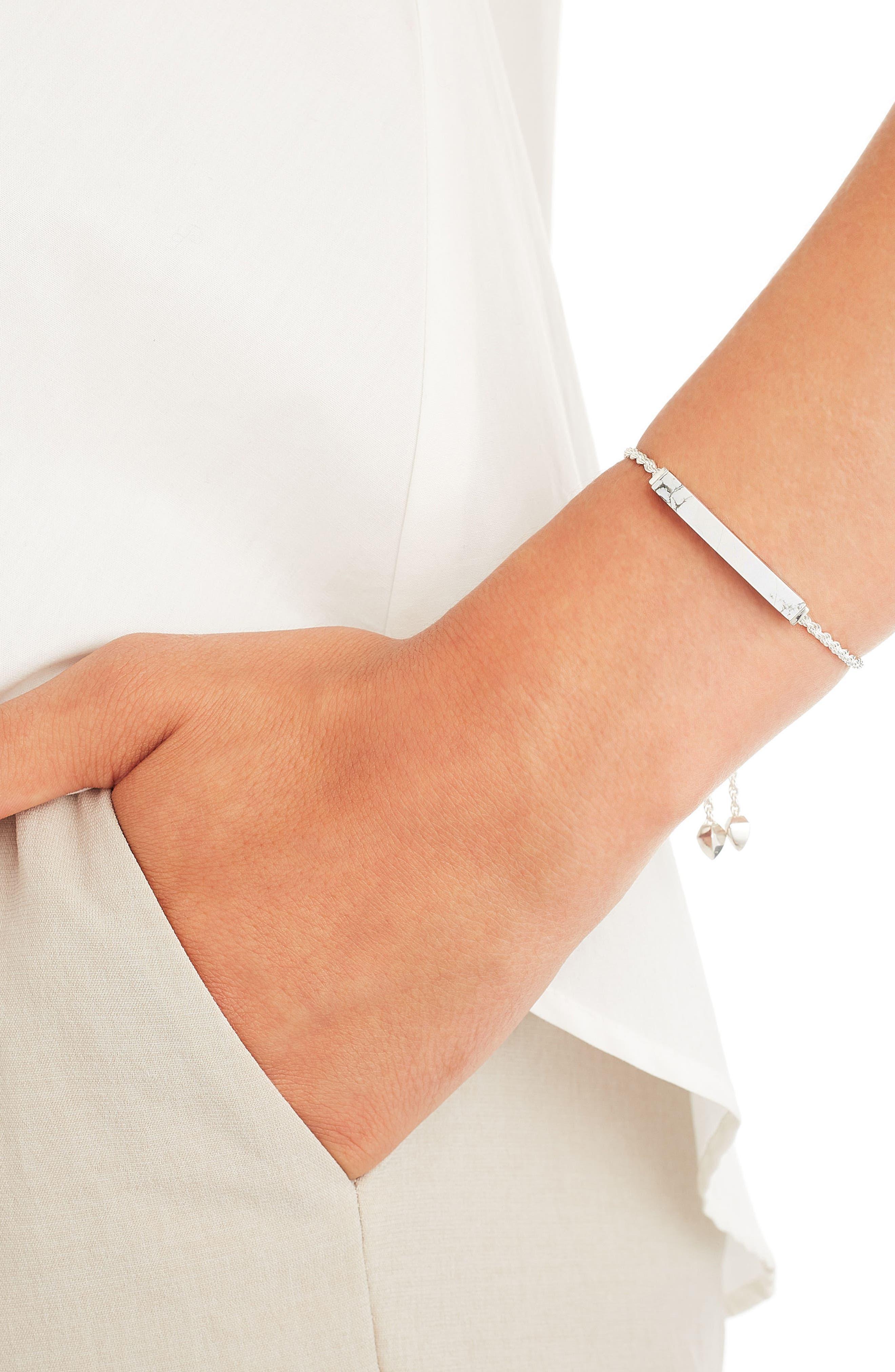 Engravable Linear Semiprecious Stone Friendship Bracelet,                             Alternate thumbnail 2, color,                             SILVER/ HOWLITE