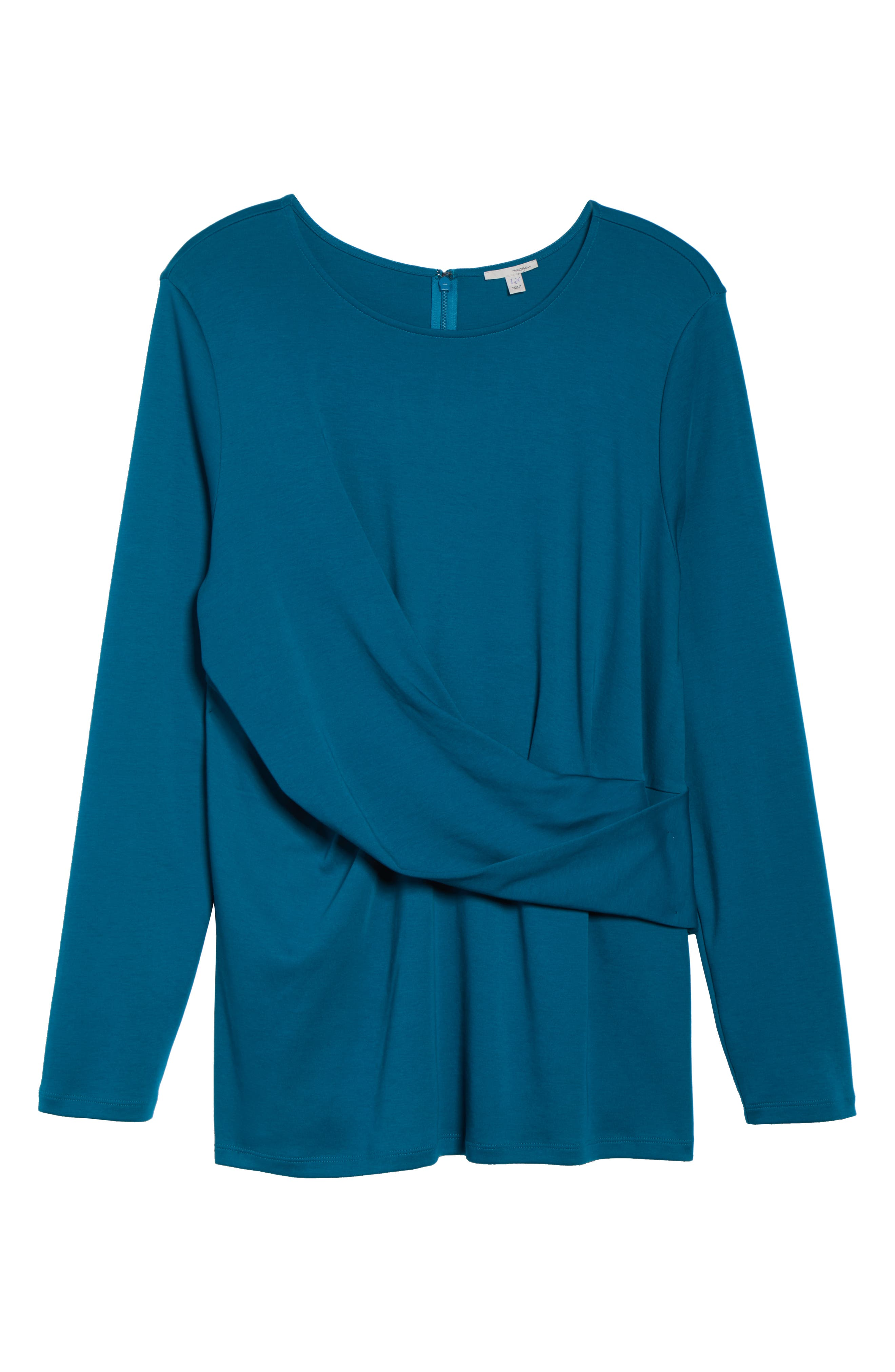 Drape Front Ponte Top,                             Alternate thumbnail 6, color,                             TEAL GLOSS