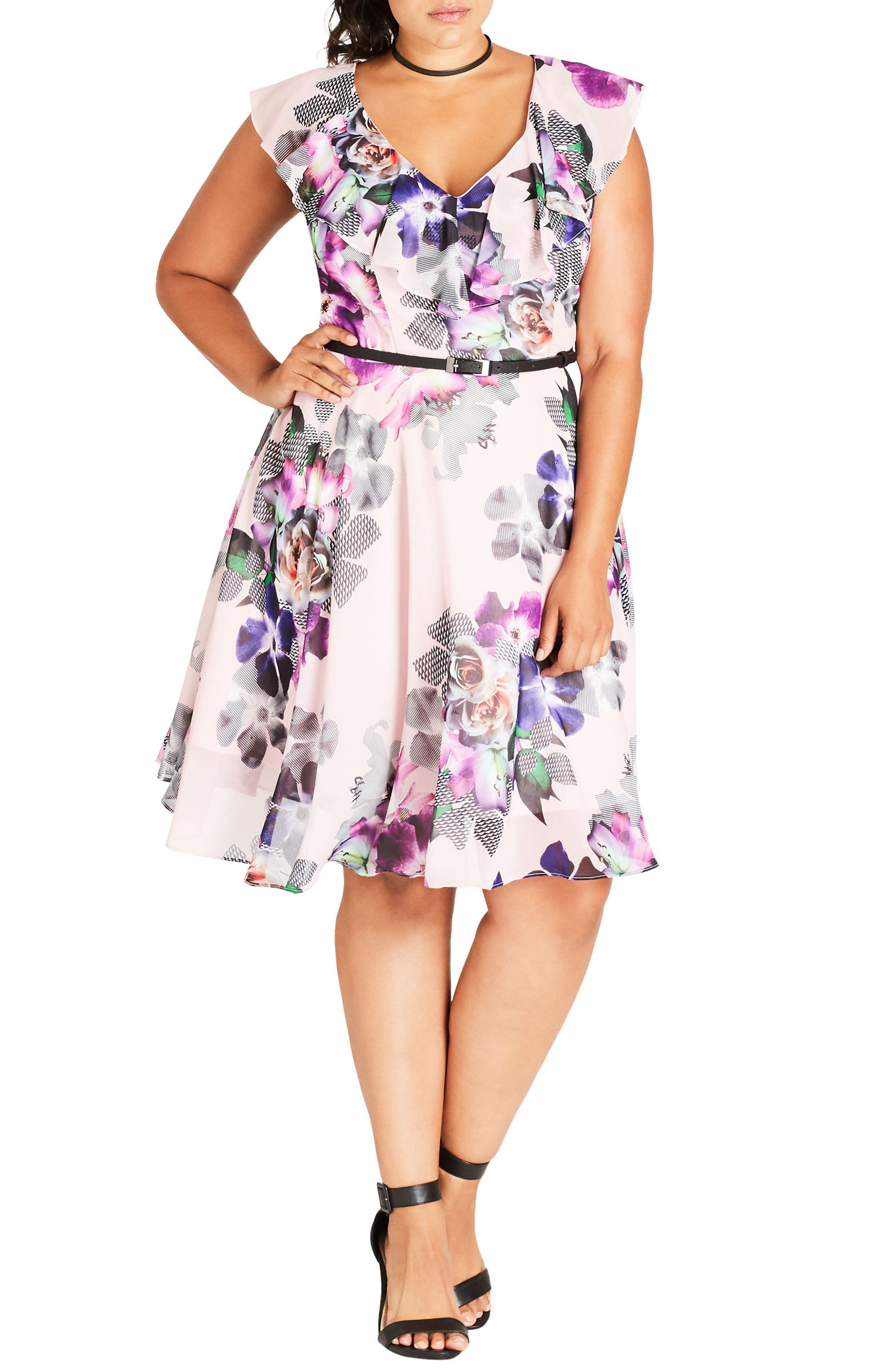 Romance Ruffle Floral Fit & Flare Dress,                             Alternate thumbnail 3, color,                             660