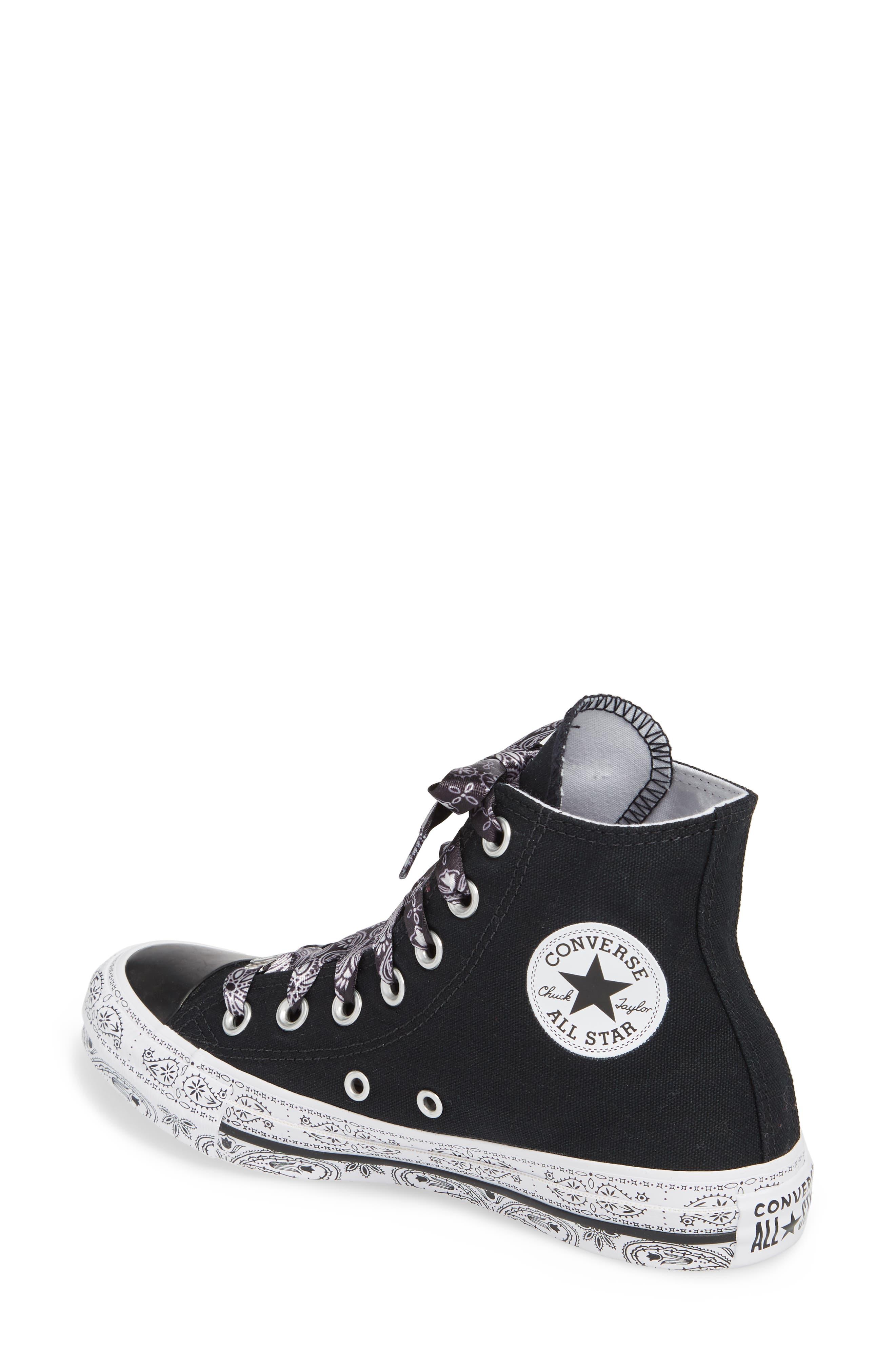 CONVERSE,                             x Miley Cyrus Chuck Taylor All Star Bandana High Top Sneaker,                             Alternate thumbnail 2, color,                             001